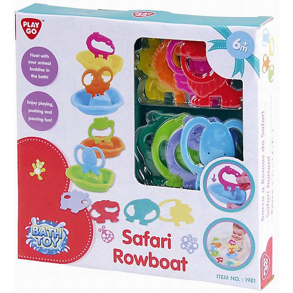 Набор для ванной Лодочки сафари, PlaygoИгрушки для ванной<br>Набор для ванной Лодочки сафари, Playgo<br><br>Характеристики:<br>- Материал: пластик<br>- В комплект входят: 4 лодочки, 8 животных  <br><br>Лодочки сафари для ванной от известного китайского бренда развивающих игрушек для детей Playgo (Плейго) станут прекрасным подарком для малыша. Различные животные вставляются в лодочки и их так весело отправлять в плавание среди бесконечных пенных рифов ванной. В наборе представлены восемь животных из джунглей, в том числе слоник, обезьянка, бегемотик, лев. Все детали игрушки крупные и с удобными ручками, чтобы помочь малышу хватать их и самому стараться вставлять в лодочки зверят. В лодочки можно наливать водичку и смотреть как она выливается. Изготовленная из качественного пластика, яркая игрушка поможет развить тактильные ощущения, воображение и цветовое восприятие и моторику ручек. <br>Набор для ванной Лодочки сафари, Playgo (Плейго) можно купить в нашем интернет-магазине.<br>Подробнее:<br>• Для детей в возрасте: от 6 до 36 месяцев <br>• Номер товара: 5054066<br>Страна производитель: Китай<br>Ширина мм: 240; Глубина мм: 240; Высота мм: 40; Вес г: 334; Возраст от месяцев: 12; Возраст до месяцев: 36; Пол: Унисекс; Возраст: Детский; SKU: 5054066;