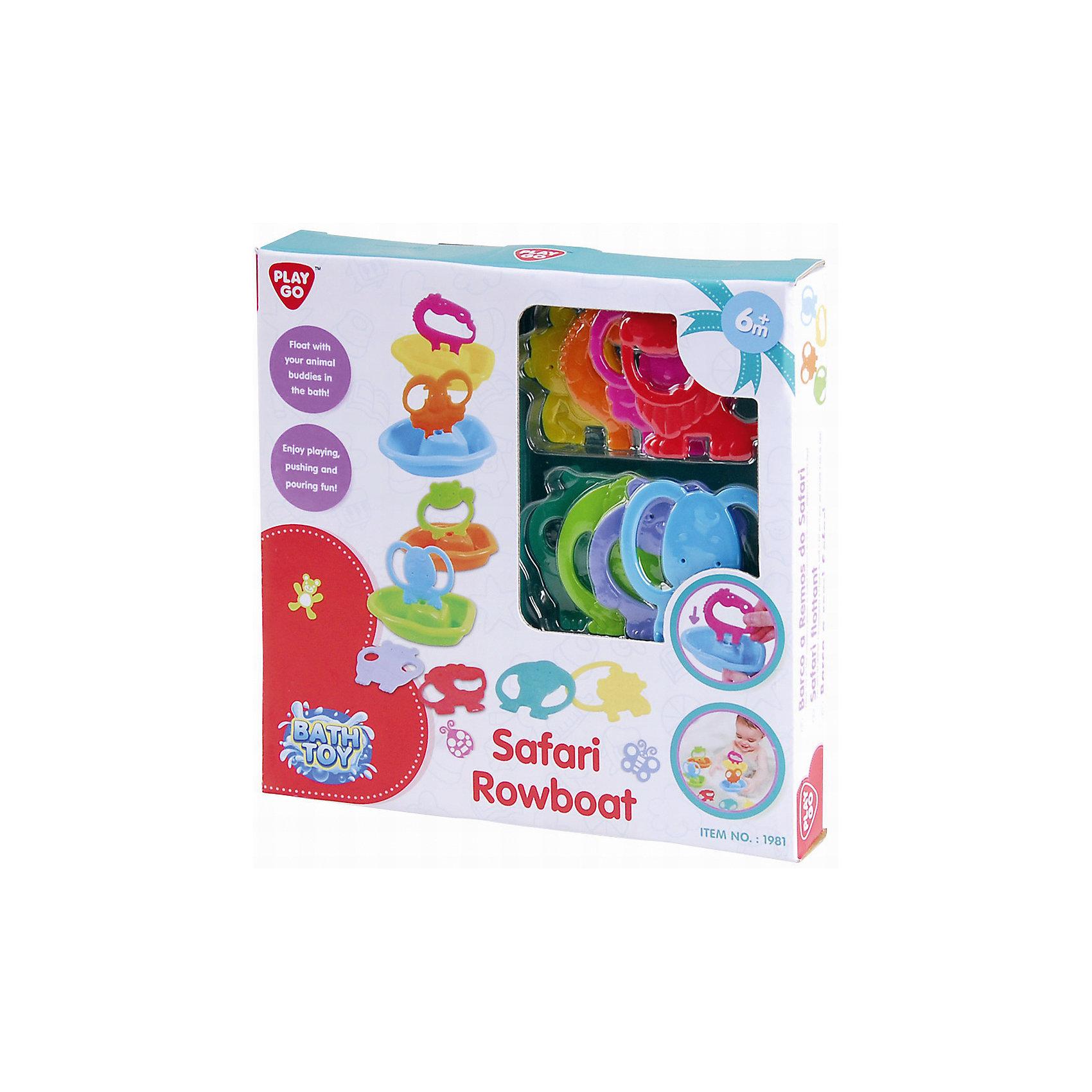 Набор для ванной Лодочки сафари, PlaygoИгровые наборы<br>Набор для ванной Лодочки сафари, Playgo<br><br>Характеристики:<br>- Материал: пластик<br>- В комплект входят: 4 лодочки, 8 животных  <br><br>Лодочки сафари для ванной от известного китайского бренда развивающих игрушек для детей Playgo (Плейго) станут прекрасным подарком для малыша. Различные животные вставляются в лодочки и их так весело отправлять в плавание среди бесконечных пенных рифов ванной. В наборе представлены восемь животных из джунглей, в том числе слоник, обезьянка, бегемотик, лев. Все детали игрушки крупные и с удобными ручками, чтобы помочь малышу хватать их и самому стараться вставлять в лодочки зверят. В лодочки можно наливать водичку и смотреть как она выливается. Изготовленная из качественного пластика, яркая игрушка поможет развить тактильные ощущения, воображение и цветовое восприятие и моторику ручек. <br>Набор для ванной Лодочки сафари, Playgo (Плейго) можно купить в нашем интернет-магазине.<br>Подробнее:<br>• Для детей в возрасте: от 6 до 36 месяцев <br>• Номер товара: 5054066<br>Страна производитель: Китай<br><br>Ширина мм: 240<br>Глубина мм: 240<br>Высота мм: 40<br>Вес г: 334<br>Возраст от месяцев: 12<br>Возраст до месяцев: 36<br>Пол: Унисекс<br>Возраст: Детский<br>SKU: 5054066