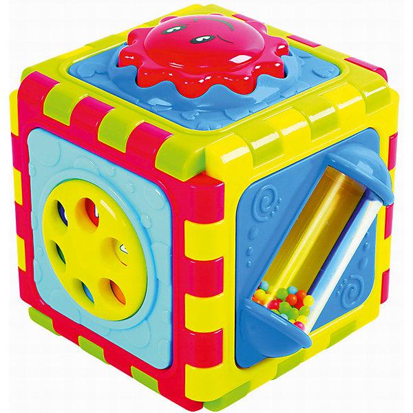 Развивающая игрушка Куб  6 в 1, PlaygoРазвивающие центры<br>Развивающая игрушка Куб  6 в 1, Playgo<br><br>Характеристики:<br>- Материал: пластик<br>- Размер: 10 * 10 * 11,5 см.<br>Куб 5 в 1 от известного китайского бренда развивающих игрушек для детей Playgo (Плейго) станет прекрасным подарком для крохи. Целых шесть сторон веселья предоставляет этот куб. Кнопочки, колечки, зеркало, барабан с яркими шариками и крутящийся круг позволят развить логическое мышление в ходе решения всех загадок. Куб можно разложить и превратить его в развивающий коврик, или соорудить из него что захочется. Изготовленная из качественного пластика, разноцветная игрушка способствует развитию тактильных ощущений, звукового восприятия, воображения, световое восприятия и моторики ручек. Небольшой размер позволит брать эту игрушку на прогулку и в поездку.<br>Развивающую игрушку  Куб  6 в 1, Playgo (Плейго) можно купить в нашем интернет-магазине.<br>Подробнее:<br>• Для детей в возрасте: от 6 до 24 месяцев <br>• Номер товара: 5054067<br>Страна производитель: Китай<br>Ширина мм: 160; Глубина мм: 160; Высота мм: 160; Вес г: 500; Возраст от месяцев: 12; Возраст до месяцев: 36; Пол: Унисекс; Возраст: Детский; SKU: 5054067;