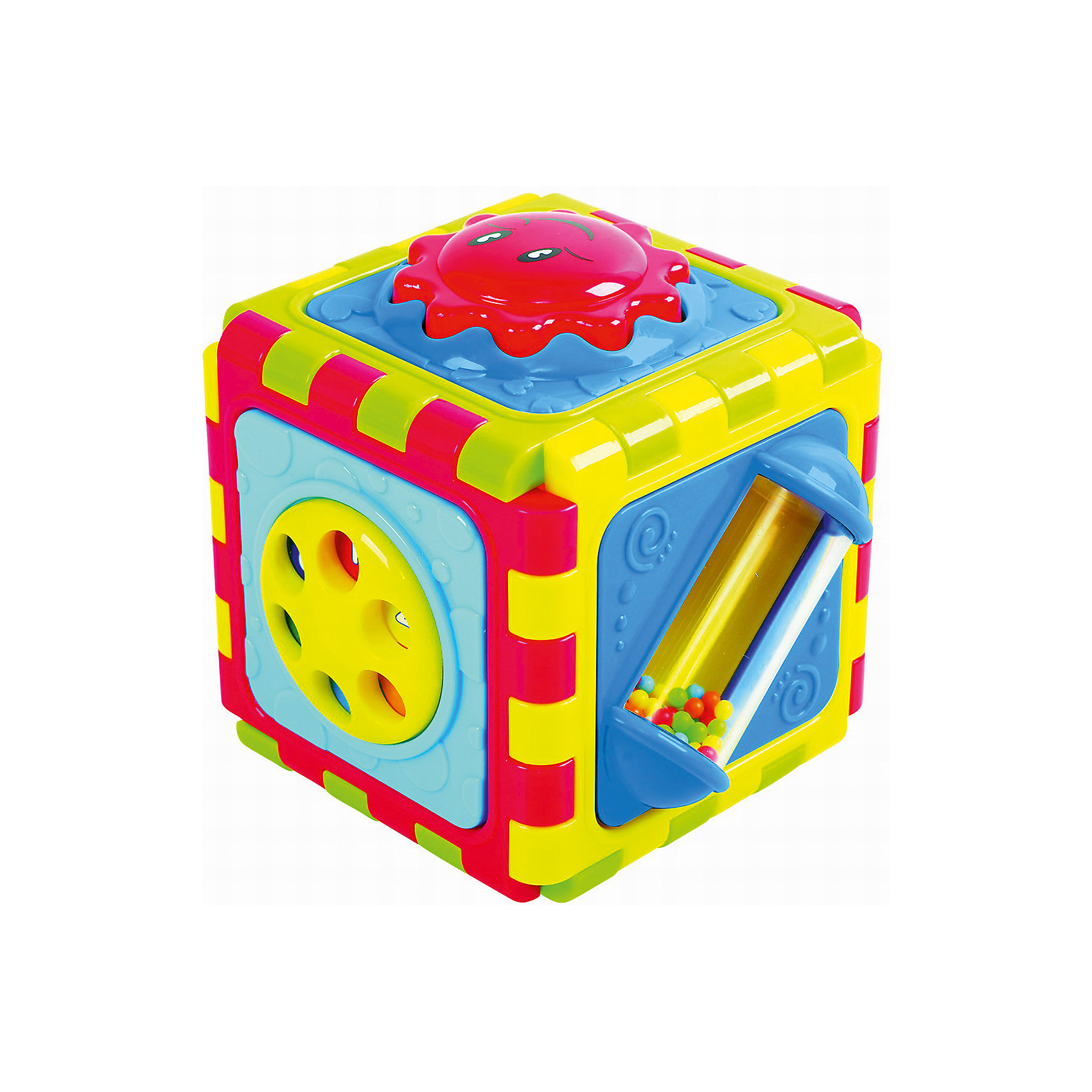 Развивающая игрушка Куб  6 в 1, PlaygoРазвивающие игрушки<br>Развивающая игрушка Куб  6 в 1, Playgo<br><br>Характеристики:<br>- Материал: пластик<br>- Размер: 10 * 10 * 11,5 см.<br>Куб 5 в 1 от известного китайского бренда развивающих игрушек для детей Playgo (Плейго) станет прекрасным подарком для крохи. Целых шесть сторон веселья предоставляет этот куб. Кнопочки, колечки, зеркало, барабан с яркими шариками и крутящийся круг позволят развить логическое мышление в ходе решения всех загадок. Куб можно разложить и превратить его в развивающий коврик, или соорудить из него что захочется. Изготовленная из качественного пластика, разноцветная игрушка способствует развитию тактильных ощущений, звукового восприятия, воображения, световое восприятия и моторики ручек. Небольшой размер позволит брать эту игрушку на прогулку и в поездку.<br>Развивающую игрушку  Куб  6 в 1, Playgo (Плейго) можно купить в нашем интернет-магазине.<br>Подробнее:<br>• Для детей в возрасте: от 6 до 24 месяцев <br>• Номер товара: 5054067<br>Страна производитель: Китай<br><br>Ширина мм: 160<br>Глубина мм: 160<br>Высота мм: 160<br>Вес г: 500<br>Возраст от месяцев: 12<br>Возраст до месяцев: 36<br>Пол: Унисекс<br>Возраст: Детский<br>SKU: 5054067