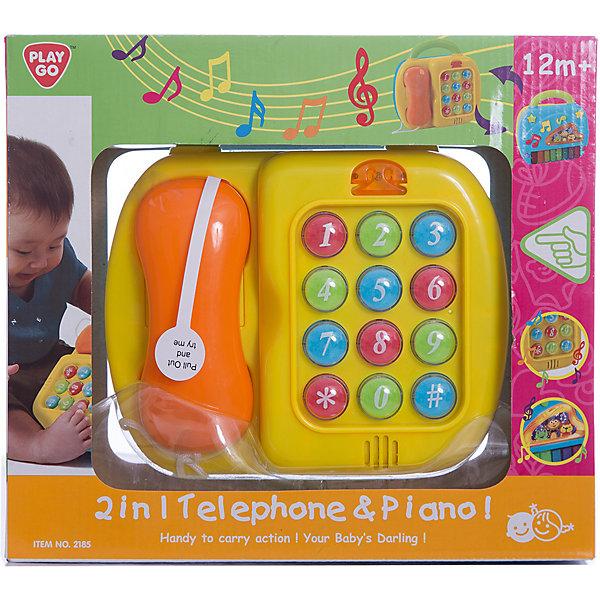 Развивающий центр Телефон и пианино, PlaygoРазвивающие центры<br>Развивающий центр Телефон и пианино, Playgo<br><br>Характеристики:<br>- В набор входит: развивающий центр, батарейки<br>- Материал: пластик<br>- Размер: 28 * 9 * 25 см.<br>- Элементы питания: батарейки АА, 3 шт.<br>Развивающий центр Телефон и пианино  от известного китайского бренда развивающих игрушек для детей Playgo (Плейго) станет прекрасным подарком для крохи. С одной стороны этого центра, который имеет удобную ручку чемодана, представлено пианино с восемью клавишами и дополнительными кнопочками в виде нот и звездочек, которые играют отдельные мелодии. Вторая сторона представлена в виде кнопочного телефона с трубкой. Яркие кнопки выполнены очень стильно и помогут малышу выучить цифры и научиться звонить. Изготовленная из качественного пластика, разноцветная игрушка способствует развитию тактильных ощущений, звукового восприятия, воображения, световое восприятия и моторики ручек. Небольшой размер позволит брать эту игрушку на прогулку и в поездку.<br>Развивающий центр Телефон и пианино, Playgo (Плейго) можно купить в нашем интернет-магазине.<br>Подробнее:<br>• Для детей в возрасте: от 1 до 3 лет<br>• Номер товара: 5054068<br>Страна производитель: Китай<br>Ширина мм: 220; Глубина мм: 180; Высота мм: 160; Вес г: 740; Возраст от месяцев: 12; Возраст до месяцев: 36; Пол: Унисекс; Возраст: Детский; SKU: 5054068;