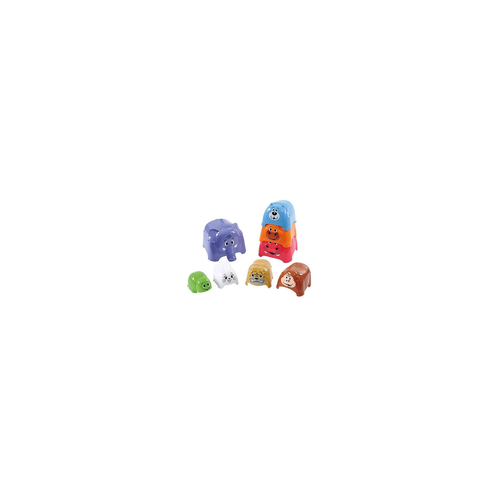 Игровой набор Формочки-животные, PlaygoРазвивающие игрушки<br>Игровой набор Формочки-животные, Playgo<br><br>Характеристики:<br>- В набор входит: 8 формочек<br>- Материал: пластик<br>- Размер самой большой формочки: 12 * 12 * 10 см.<br>- Вес: 500 гр.<br>Игровой набор Формочки-животные от известного китайского бренда развивающих игрушек для детей Playgo (Плейго) станет прекрасным подарком для крохи. Нестандартный вариант пирамидки развлечет ребенка и поможет ему выучить животных, играя с ними. Начиная от крошечной черепашки и до большого слона животные надеваются один на один и также легко складываются для удобного хранения. Изготовленная из качественного пластика, разноцветная игрушка способствует развитию логики, тактильных ощущений, воображения, цветового восприятия и моторики ручек. Небольшой размер позволит брать эту игрушку на прогулку, в песочницу и в поездку.<br>Игровой набор Формочки-животные, Playgo (Плейго) можно купить в нашем интернет-магазине.<br>Подробнее:<br>• Для детей в возрасте: от 12 до 36 месяцев<br>• Номер товара: 5054072<br>Страна производитель: Китай<br><br>Ширина мм: 240<br>Глубина мм: 240<br>Высота мм: 140<br>Вес г: 532<br>Возраст от месяцев: 12<br>Возраст до месяцев: 36<br>Пол: Унисекс<br>Возраст: Детский<br>SKU: 5054072