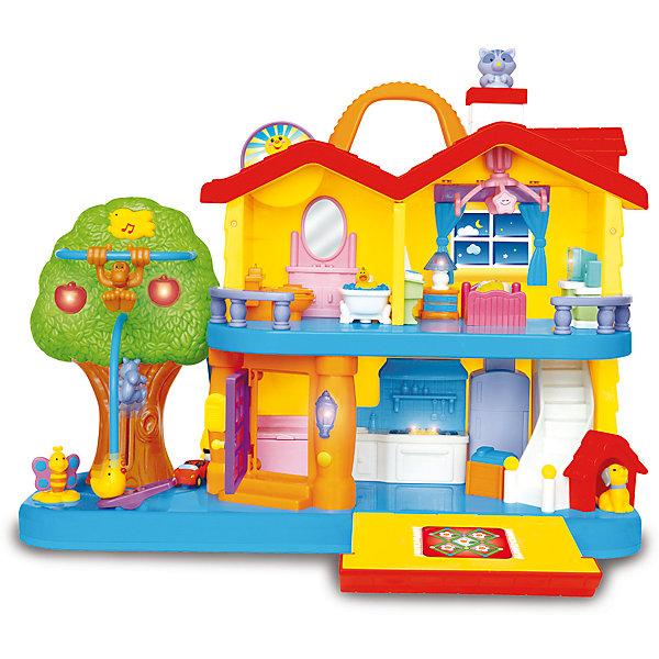 Развивающая игрушка Занимательный дом, KiddielandРазвивающие игрушки<br>Развивающая игрушка Занимательный дом, Kiddieland <br><br>Характеристики:<br>- В набор входит: игрушечный дом с аксессуарами, 2 фигурки, элементы питания<br>- Материал: пластик<br>- Элементы питания: батарейки АА, 2 шт.<br>- Размер дома: 33 * 40 * 16,5 см.<br>Занимательный дом от известного китайского бренда игрушек для детей Kiddieland (Киддилэнд) станет прекрасным подарком для ребенка. Этот большой дом содержит все основные комнаты дома от кухни до ванной, а также и площадку возле дома. Для большей реалистичности, в доме работает звонок для двери и включается свет, загораются и яблочки на дереве. С помощью движущихся элементов можно разнообразить обычные игры с фигурками, в дополнение к звукам дома в набор домика входят песенки и мелодии.  Домик рассчитан для детей от года, в частности для обучения обычному обустройству дома с помощью игры. Все животные и мебель домика статичны и их нельзя перемещать. В доме живут мальчик и девочка, также тут живут и животные: как домашние (собачка, кошечка), так и дикие (обезьянка и поющая птичка). Благодаря удобной ручке домик удобно переносить. Изготовленная из качественного пластика, разноцветная игрушка способствует развитию воображения, социальных навыков, моторики рук. <br>Развивающую игрушку Занимательный дом, Kiddieland  (Киддилэнд) можно купить в нашем интернет-магазине.<br>Подробнее:<br>• Для детей в возрасте: от 1 до 3 лет<br>• Номер товара: 5054073<br>Страна производитель: Китай<br>Ширина мм: 450; Глубина мм: 350; Высота мм: 180; Вес г: 2800; Возраст от месяцев: 12; Возраст до месяцев: 36; Пол: Унисекс; Возраст: Детский; SKU: 5054073;