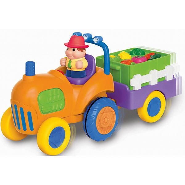 Развивающий игровой центр - трактор с овощами, KiddielandМашинки<br>Развивающий игровой центр - трактор с овощами, Kiddieland<br><br>Характеристики:<br>- В набор входит: фигурка фермера, трактор с прицепом, элементы питания<br>- Материал: пластик<br>- Элементы питания: батарейки АА, 4 шт.<br>- Размер упаковки: 18 * 14 * 34,5 см.<br>Развивающий игровой центр в виде трактора с овощами от известного китайского бренда игрушек для детей Kiddieland (Киддилэнд) станет прекрасным подарком для ребенка. Оснащенный звуками и песенками он приведет малыша в восторг! А нажимая на кнопочки с овощами и фруктами в прицепе малыш научится называть их по-английски. В прицепе фермера лежат морковки,  помидорка, цветная капуста, брокколи, клубнички и бананы. Интерактивный трактор ездит, издает звук заведенного мотора, сигналит и включает радио, когда фермер садится за руль. Изготовленная из качественного пластика, разноцветная игрушка способствует развитию восприятия цвета и звука, памяти, воображения, социальных навыков, моторики рук. <br>Развивающий игровой центр - трактор с овощами, Kiddieland  (Киддилэнд) можно купить в нашем интернет-магазине.<br>Подробнее:<br>• Для детей в возрасте: от 1 до 3 лет<br>• Номер товара: 5054074<br>Страна производитель: Китай<br><br>Ширина мм: 340<br>Глубина мм: 180<br>Высота мм: 140<br>Вес г: 1100<br>Возраст от месяцев: 12<br>Возраст до месяцев: 36<br>Пол: Унисекс<br>Возраст: Детский<br>SKU: 5054074
