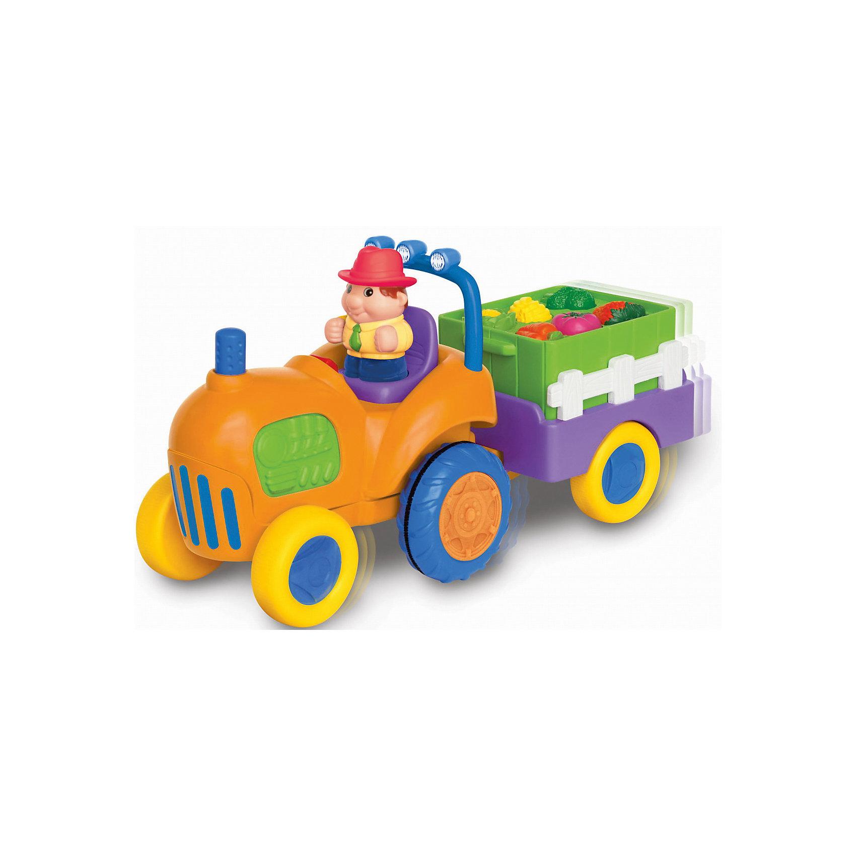 Развивающий игровой центр - трактор с овощами, KiddielandИгрушки для малышей<br>Развивающий игровой центр - трактор с овощами, Kiddieland<br><br>Характеристики:<br>- В набор входит: фигурка фермера, трактор с прицепом, элементы питания<br>- Материал: пластик<br>- Элементы питания: батарейки АА, 4 шт.<br>- Размер упаковки: 18 * 14 * 34,5 см.<br>Развивающий игровой центр в виде трактора с овощами от известного китайского бренда игрушек для детей Kiddieland (Киддилэнд) станет прекрасным подарком для ребенка. Оснащенный звуками и песенками он приведет малыша в восторг! А нажимая на кнопочки с овощами и фруктами в прицепе малыш научится называть их по-английски. В прицепе фермера лежат морковки,  помидорка, цветная капуста, брокколи, клубнички и бананы. Интерактивный трактор ездит, издает звук заведенного мотора, сигналит и включает радио, когда фермер садится за руль. Изготовленная из качественного пластика, разноцветная игрушка способствует развитию восприятия цвета и звука, памяти, воображения, социальных навыков, моторики рук. <br>Развивающий игровой центр - трактор с овощами, Kiddieland  (Киддилэнд) можно купить в нашем интернет-магазине.<br>Подробнее:<br>• Для детей в возрасте: от 1 до 3 лет<br>• Номер товара: 5054074<br>Страна производитель: Китай<br><br>Ширина мм: 340<br>Глубина мм: 180<br>Высота мм: 140<br>Вес г: 1100<br>Возраст от месяцев: 12<br>Возраст до месяцев: 36<br>Пол: Унисекс<br>Возраст: Детский<br>SKU: 5054074