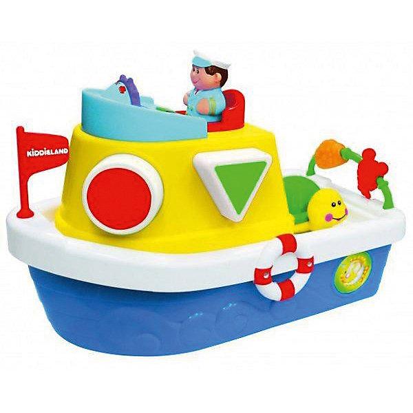 Сортер Мой первый корабль, KiddielandРазвивающие игрушки<br>Сортер Мой первый корабль, Kiddieland<br><br>Характеристики:<br>- Материал: пластик<br>- В комплект входит: 1 каталка, элементы питания<br>- Размер: 18 * 15 * 26 см. <br>- Элементы питания: батарейки АА, 2 шт.<br>Яркая каталка - сортер произведена известным китайским брендом игрушек для детей Kiddieland (Киддилэнд) и станет прекрасным подарком для малыша. Развивающая каталка со смелым капитаном и морскими животными поможет выучить цвета и фигуры. Большой корабль берет на борт треугольник, круг, квадрат и звездочку. Кораблик поет песенки и рассказывает дюжину стишков. Кораблик легко возить по поверхности благодаря колесикам внизу. Изготовленная из качественного пластика, каталка способствует развитию логики, координации движения, восприятия цвета и звука, воображения, моторики рук. <br>Сортер Мой первый корабль, Kiddieland можно купить в нашем интернет-магазине.<br>Подробнее:<br>• Для детей в возрасте: от 12 месяцев до 3 лет <br>• Номер товара: 5054076<br>Страна производитель: Китай<br><br>Ширина мм: 320<br>Глубина мм: 210<br>Высота мм: 190<br>Вес г: 1400<br>Возраст от месяцев: 12<br>Возраст до месяцев: 36<br>Пол: Унисекс<br>Возраст: Детский<br>SKU: 5054076
