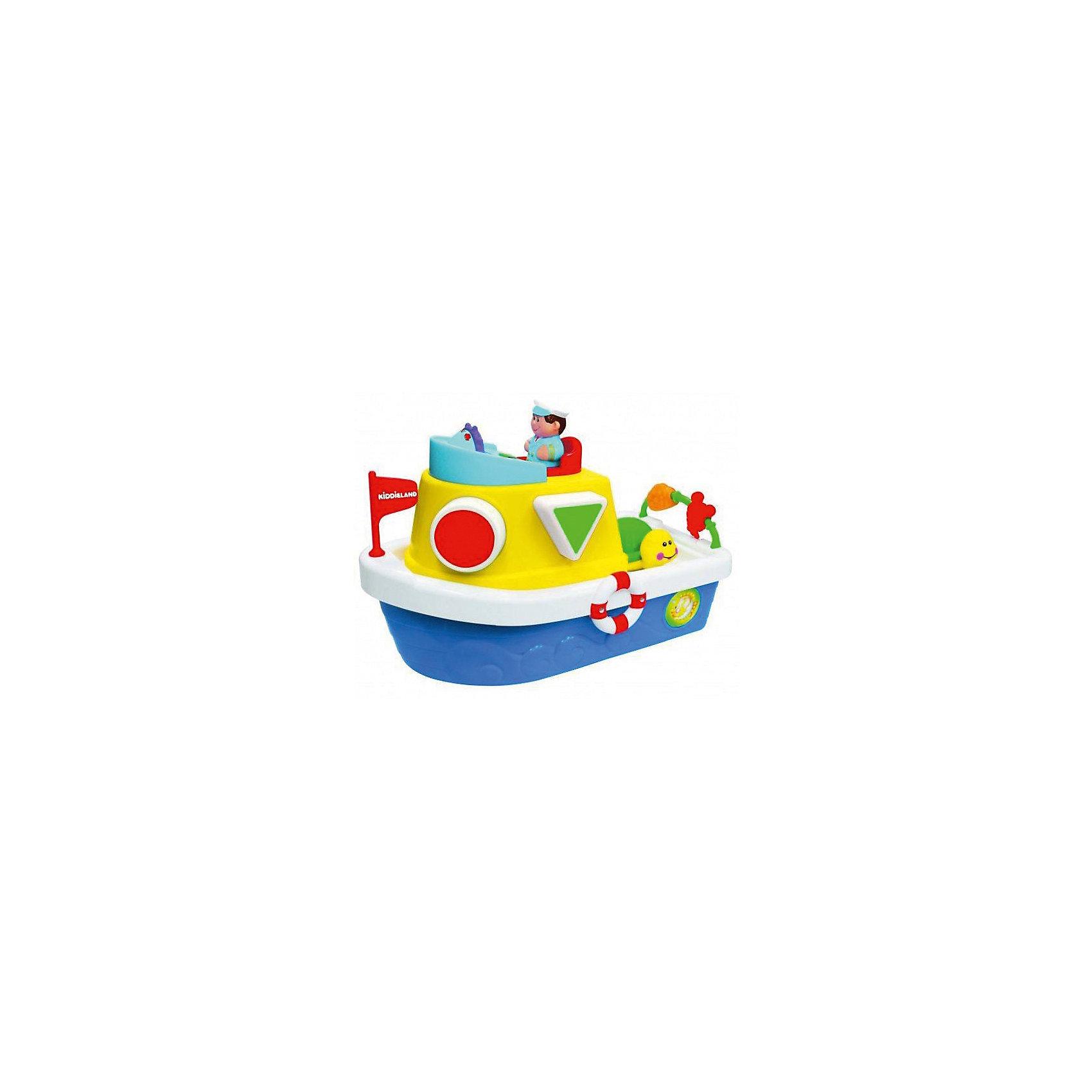 Сортер Мой первый корабль, KiddielandСортеры<br>Сортер Мой первый корабль, Kiddieland<br><br>Характеристики:<br>- Материал: пластик<br>- В комплект входит: 1 каталка, элементы питания<br>- Размер: 18 * 15 * 26 см. <br>- Элементы питания: батарейки АА, 2 шт.<br>Яркая каталка - сортер произведена известным китайским брендом игрушек для детей Kiddieland (Киддилэнд) и станет прекрасным подарком для малыша. Развивающая каталка со смелым капитаном и морскими животными поможет выучить цвета и фигуры. Большой корабль берет на борт треугольник, круг, квадрат и звездочку. Кораблик поет песенки и рассказывает дюжину стишков. Кораблик легко возить по поверхности благодаря колесикам внизу. Изготовленная из качественного пластика, каталка способствует развитию логики, координации движения, восприятия цвета и звука, воображения, моторики рук. <br>Сортер Мой первый корабль, Kiddieland можно купить в нашем интернет-магазине.<br>Подробнее:<br>• Для детей в возрасте: от 12 месяцев до 3 лет <br>• Номер товара: 5054076<br>Страна производитель: Китай<br><br>Ширина мм: 320<br>Глубина мм: 210<br>Высота мм: 190<br>Вес г: 1400<br>Возраст от месяцев: 12<br>Возраст до месяцев: 36<br>Пол: Унисекс<br>Возраст: Детский<br>SKU: 5054076