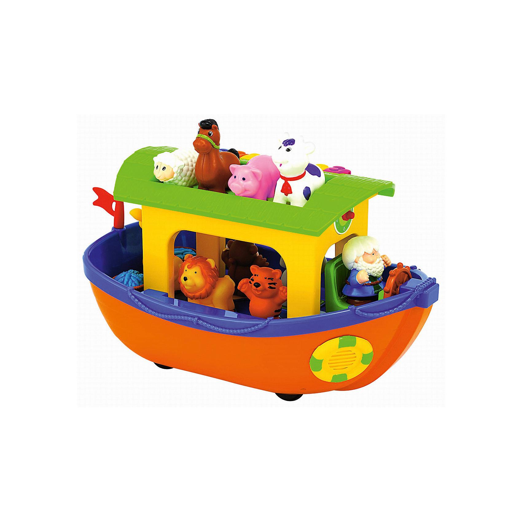 Развивающая игрушка Ноев ковчег, KiddielandРазвивающие игрушки<br>Развивающая игрушка Ноев ковчег, Kiddieland<br><br>Характеристики:<br>- В набор входит: ковчег, Ной, животные 9 шт., элементы питания<br>- Материал: пластик<br>- Элементы питания: батарейки АА, 2 шт.<br>- Размер упаковки: 22 * 41 * 21 см.<br>- Вес: 1,7 кг.<br>Развивающая игрушка в виде ковчега с животными от известного китайского бренда игрушек для детей Kiddieland (Киддилэнд) будет прекрасным подарком для ребенка. Оснащенный звуками и песенками он приведет малыша в восторг! Девять животных на корабле, верхний этаж предназначен для домашних животных, а нижний для зверей джунглей. У каждой зверушки свое место, согласно цветным формам-подставкам (квадрат, кружок, треугольник, сердечко, звездочка), а если нажать на одного из них, то можно узнать как это животное разговаривает. Часы на корме корабля помогут малышу понять что такое время, а клавиши на крыше – это пианино, с которым будет очень интересно играть. Ковчег имеет колесики и передвигается слегка покачиваясь из стороны в сторону. Изготовленная из пластика высокого качества, разноцветная игрушка способствует развитию памяти, воображения, восприятия цвета и звука, социальных навыков, моторики рук.<br>Развивающую игрушку Ноев ковчег, Kiddieland  (Киддилэнд) можно купить в нашем интернет-магазине.<br>Подробнее:<br>• Для детей в возрасте: от 1 до 3 лет<br>• Номер товара: 5054078<br>Страна производитель: Китай<br><br>Ширина мм: 410<br>Глубина мм: 200<br>Высота мм: 200<br>Вес г: 1500<br>Возраст от месяцев: 12<br>Возраст до месяцев: 36<br>Пол: Унисекс<br>Возраст: Детский<br>SKU: 5054078