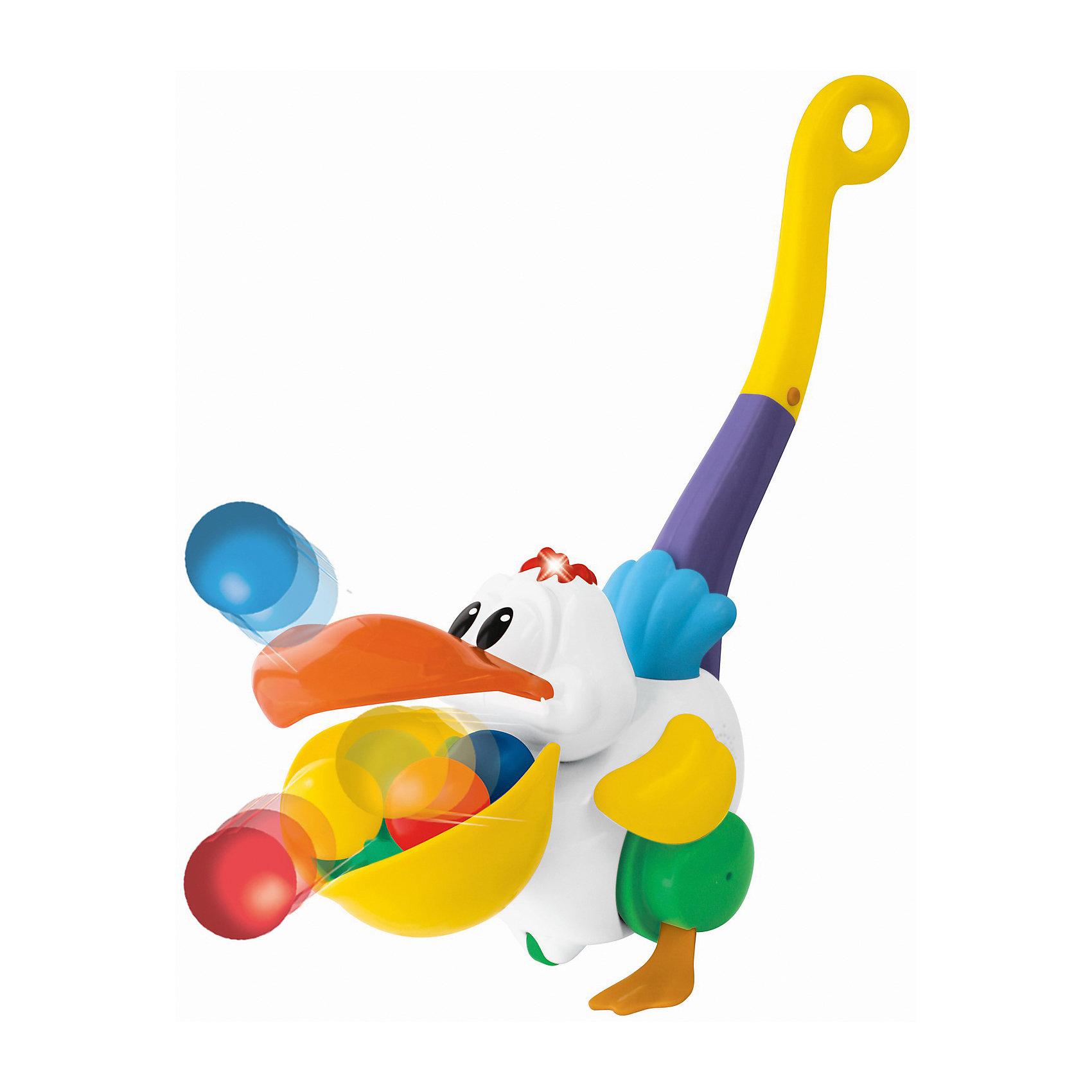 Игровая каталка с ручкой Пеликан-затейник, KiddielandИгрушки-каталки<br>Игровая каталка с ручкой Пеликан-затейник, Kiddieland<br><br>Характеристики:<br>- В набор входит: каталка, элементы питания<br>- Материал: пластик<br>- Элементы питания: батарейки АА, 2 шт.<br>- Размер упаковки: 17 * 25 * 11 см.<br>Каталка Пеликан-затейник произведена известным китайским брендом производства игрушек Kiddieland (Киддилэнд) и станет малышу прекрасным подарком. Цветную каталку с красочной ручкой, закрученной в колечко очень удобно катать. Веселый пеликан машет крыльями во время движения, а цветные шарики выпрыгивают из его клюва. С такой каталкой ходить и бегать вдвойне веселее, также ее можно взять с собой и во двор на прогулку. Изготовленная из качественного пластика, разноцветная каталка поможет крохе развить координацию движения, восприятие звука и цвета, моторику рук, воображение.<br>Игровую каталку с ручкой Пеликан-затейник, Kiddieland (Киддилэнд) можно купить в нашем интернет-магазине.<br>Подробнее:<br>• Для детей в возрасте: от 1,5 до 2 лет<br>• Номер товара: 5054081<br>Страна производитель: Китай<br><br>Ширина мм: 270<br>Глубина мм: 210<br>Высота мм: 210<br>Вес г: 600<br>Возраст от месяцев: 12<br>Возраст до месяцев: 36<br>Пол: Унисекс<br>Возраст: Детский<br>SKU: 5054081