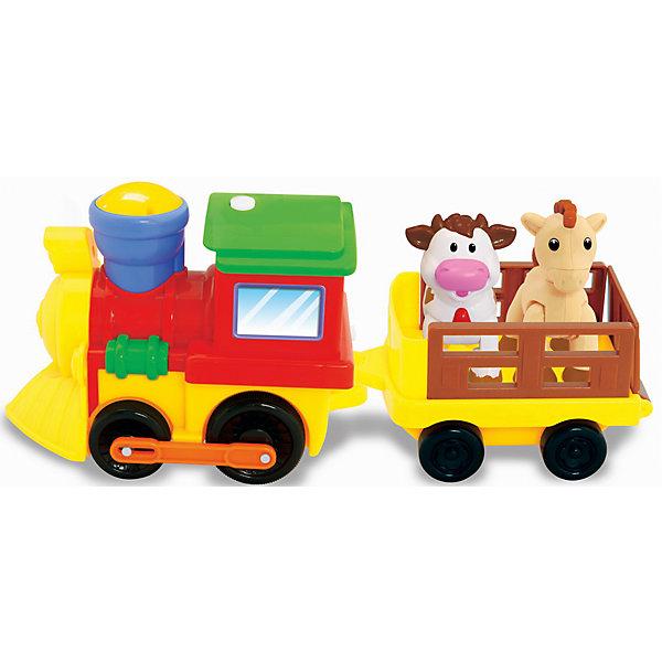 Развивающая игрушка Поезд с животными, KiddielandКаталки и качалки<br>Развивающая игрушка Поезд с животными, Kiddieland<br><br>Характеристики:<br>- В набор входит: поезд, вагончик, животные, элементы питания<br>- Материал: пластик<br>- Элементы питания: батарейки АА, 4 шт.<br>- Размер упаковки: 33 * 13 * 10 см.<br>Развивающая игрушка в виде поезда с животными от известного китайского бренда игрушек для детей Kiddieland (Киддилэнд) будет прекрасным подарком для ребенка. Оснащенный звуками и песенками он приведет малыша в восторг! В вагоне поезда едут коровка и лошадка. Интерактивный трактор ездит, издает звук поезда, сигналит, рассказывает стишки и включает песенки. Животных можно вынуть из прицепа и использовать для других игр. Изготовленная пластика высокого качества, разноцветная игрушка способствует развитию памяти, воображения, восприятия цвета и звука, социальных навыков, моторики рук.<br>Игровой развивающий центр Поезд с животными, Kiddieland  (Киддилэнд) можно купить в нашем интернет-магазине.<br>Подробнее:<br>• Для детей в возрасте: от 1 до 3 лет<br>• Номер товара: 5054083<br>Страна производитель: Китай<br><br>Ширина мм: 350<br>Глубина мм: 150<br>Высота мм: 115<br>Вес г: 680<br>Возраст от месяцев: 12<br>Возраст до месяцев: 36<br>Пол: Унисекс<br>Возраст: Детский<br>SKU: 5054083