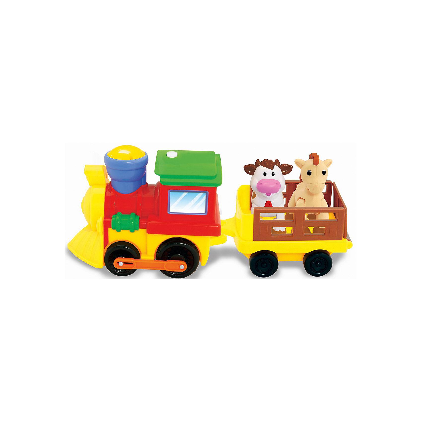 Развивающая игрушка Поезд с животными, KiddielandРазвивающие игрушки<br>Развивающая игрушка Поезд с животными, Kiddieland<br><br>Характеристики:<br>- В набор входит: поезд, вагончик, животные, элементы питания<br>- Материал: пластик<br>- Элементы питания: батарейки АА, 4 шт.<br>- Размер упаковки: 33 * 13 * 10 см.<br>Развивающая игрушка в виде поезда с животными от известного китайского бренда игрушек для детей Kiddieland (Киддилэнд) будет прекрасным подарком для ребенка. Оснащенный звуками и песенками он приведет малыша в восторг! В вагоне поезда едут коровка и лошадка. Интерактивный трактор ездит, издает звук поезда, сигналит, рассказывает стишки и включает песенки. Животных можно вынуть из прицепа и использовать для других игр. Изготовленная пластика высокого качества, разноцветная игрушка способствует развитию памяти, воображения, восприятия цвета и звука, социальных навыков, моторики рук.<br>Игровой развивающий центр Поезд с животными, Kiddieland  (Киддилэнд) можно купить в нашем интернет-магазине.<br>Подробнее:<br>• Для детей в возрасте: от 1 до 3 лет<br>• Номер товара: 5054083<br>Страна производитель: Китай<br><br>Ширина мм: 350<br>Глубина мм: 150<br>Высота мм: 115<br>Вес г: 680<br>Возраст от месяцев: 12<br>Возраст до месяцев: 36<br>Пол: Унисекс<br>Возраст: Детский<br>SKU: 5054083