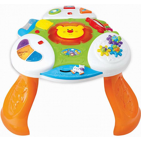 Развивающая игра Интерактивный стол, KiddielandРазвивающие центры<br>Развивающая игра Интерактивный стол, Kiddieland<br><br>Характеристики:<br>- В набор входит: стол, элементы питания<br>- Материал: пластик<br>- Элементы питания: батарейки АА, 2 шт.<br>- Размер упаковки: 15 * 26 * 36 см.<br>Развивающий Интерактивный стол от известного китайского бренда игрушек для детей Kiddieland (Киддилэнд) будет прекрасным подарком для ребенка. Веселый львенок с подсветкой не даст скучать даже непоседам. Крутящиеся шестеренки с черепашками понравятся малышу своими яркими панцирями. Безопасное зеркальце, барабан с цветными шариками, который крутится и гремит, бегущая лошадка и цветные колечки на перекладинке помогут развить восприятие цвета, звука, логическое мышление и моторику пальчиков. Цветные кнопочки расскажут как говорят нарисованные на них животные. Изготовленная из пластика высокого качества, разноцветная игрушка способствует развитию памяти, воображения, восприятия цвета и звука, моторики рук.<br>Развивающую игру Интерактивный стол, Kiddieland (Киддилэнд) можно купить в нашем интернет-магазине.<br>Подробнее:<br>• Для детей в возрасте: от 1 до 3 лет<br>• Номер товара: 5054084<br>Страна производитель: Китай<br>Ширина мм: 640; Глубина мм: 460; Высота мм: 120; Вес г: 2670; Возраст от месяцев: 12; Возраст до месяцев: 36; Пол: Унисекс; Возраст: Детский; SKU: 5054084;
