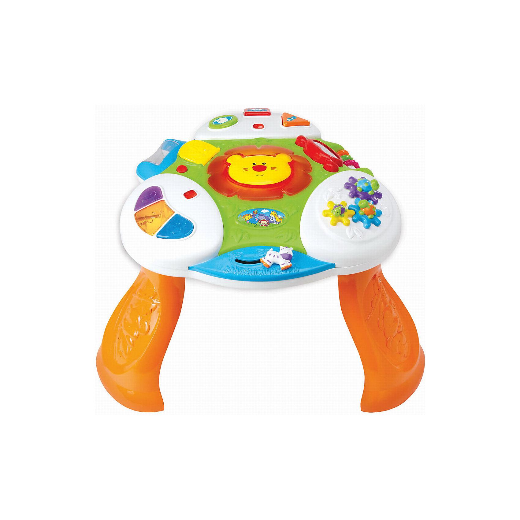 Развивающая игра Интерактивный стол, KiddielandИгровые столики и центры<br>Развивающая игра Интерактивный стол, Kiddieland<br><br>Характеристики:<br>- В набор входит: стол, элементы питания<br>- Материал: пластик<br>- Элементы питания: батарейки АА, 2 шт.<br>- Размер упаковки: 15 * 26 * 36 см.<br>Развивающий Интерактивный стол от известного китайского бренда игрушек для детей Kiddieland (Киддилэнд) будет прекрасным подарком для ребенка. Веселый львенок с подсветкой не даст скучать даже непоседам. Крутящиеся шестеренки с черепашками понравятся малышу своими яркими панцирями. Безопасное зеркальце, барабан с цветными шариками, который крутится и гремит, бегущая лошадка и цветные колечки на перекладинке помогут развить восприятие цвета, звука, логическое мышление и моторику пальчиков. Цветные кнопочки расскажут как говорят нарисованные на них животные. Изготовленная из пластика высокого качества, разноцветная игрушка способствует развитию памяти, воображения, восприятия цвета и звука, моторики рук.<br>Развивающую игру Интерактивный стол, Kiddieland (Киддилэнд) можно купить в нашем интернет-магазине.<br>Подробнее:<br>• Для детей в возрасте: от 1 до 3 лет<br>• Номер товара: 5054084<br>Страна производитель: Китай<br><br>Ширина мм: 640<br>Глубина мм: 460<br>Высота мм: 120<br>Вес г: 2670<br>Возраст от месяцев: 12<br>Возраст до месяцев: 36<br>Пол: Унисекс<br>Возраст: Детский<br>SKU: 5054084