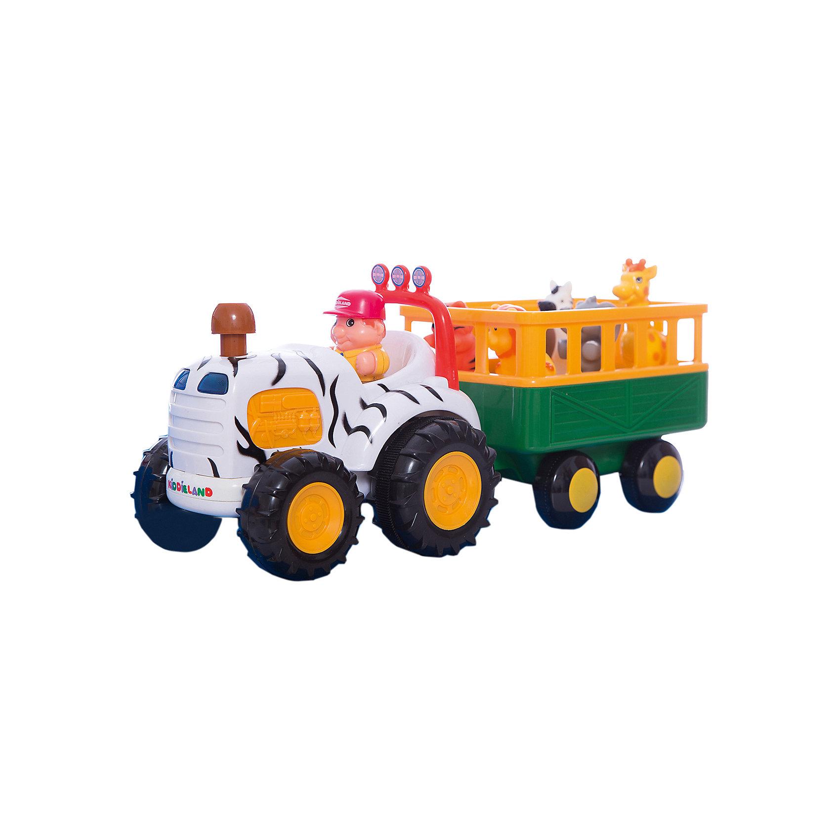 Развивающий центр - трактор Сафари, KiddielandИгровые столики и центры<br>Развивающий центр - трактор Сафари, Kiddieland<br><br>Характеристики:<br>- В набор входит: фигурка натуралиста, трактор с прицепом, элементы питания<br>- Материал: пластик<br>- Элементы питания: батарейки АА, 4 шт.<br>- Размер упаковки: 18 * 14 * 34,5 см.<br>Развивающий игровой центр в виде трактора с дикими животными от известного китайского бренда игрушек для детей Kiddieland (Киддилэнд) станет прекрасным подарком для ребенка. Оснащенный звуками и песенками он приведет малыша в восторг! А нажимая на животных в прицепе в прицепе малыш узнает как они говорят. В прицепе натуралиста едут жирафик, зебра, тигр, лев, слоник и бегемот. Интерактивный трактор ездит, издает звук заведенного мотора, рассказывает стишки, сигналит и включает радио, когда натуралист садится за руль. Изготовленная из качественного пластика, разноцветная игрушка способствует развитию восприятия цвета и звука, памяти, воображения, социальных навыков, моторики рук. <br>Развивающий центр - трактор Сафари, Kiddieland (Киддилэнд) можно купить в нашем интернет-магазине.<br>Подробнее:<br>• Для детей в возрасте: от 1 до 3 лет<br>• Номер товара: 5054087<br>Страна производитель: Китай<br><br>Ширина мм: 410<br>Глубина мм: 190<br>Высота мм: 110<br>Вес г: 1800<br>Возраст от месяцев: 12<br>Возраст до месяцев: 36<br>Пол: Унисекс<br>Возраст: Детский<br>SKU: 5054087