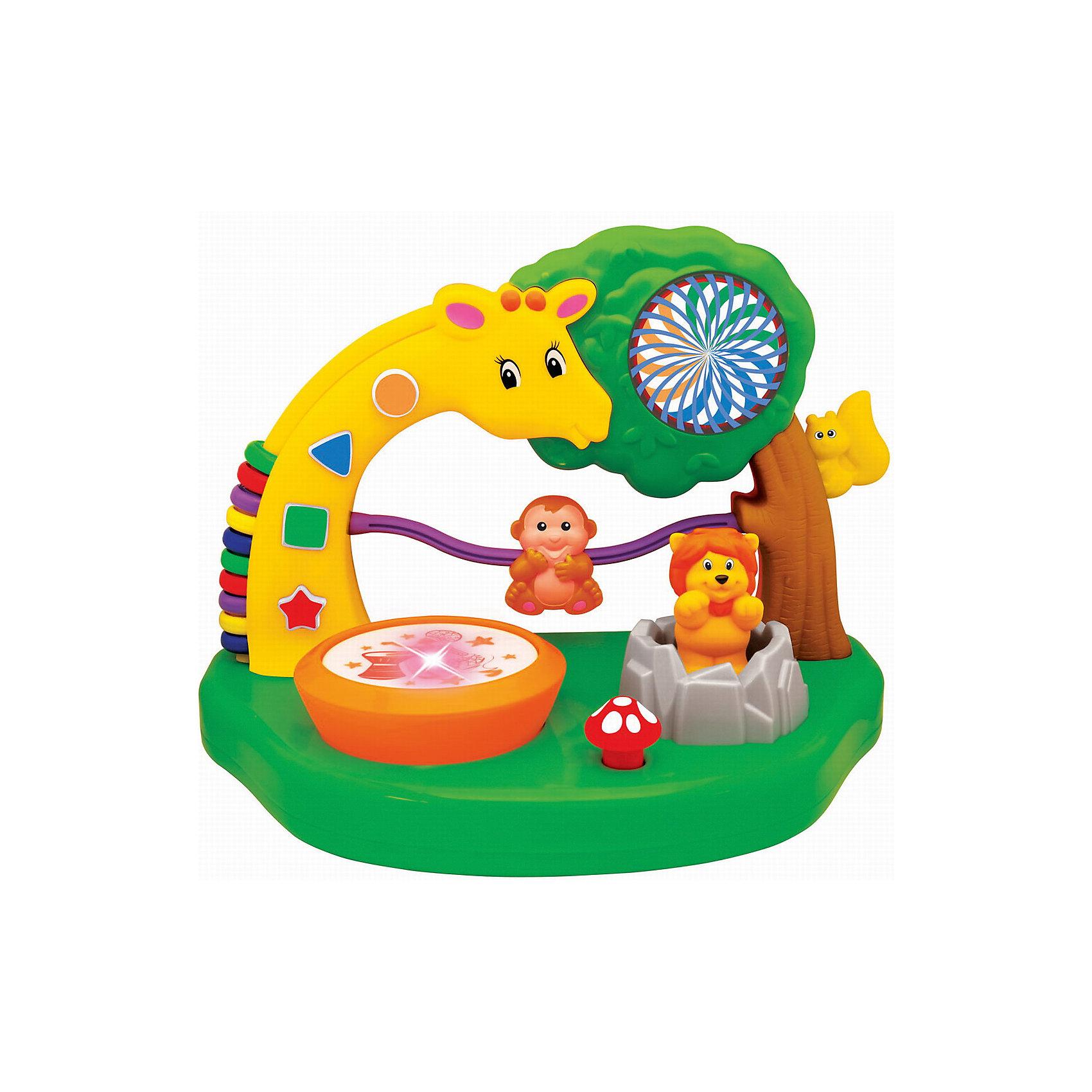 Развивающая игрушка Сафари парк, KiddielandРазвивающие игрушки<br>Развивающая игрушка Сафари парк, Kiddieland<br><br>Характеристики:<br>- В набор входит: игрушка, элементы питания<br>- Материал: пластик<br>- Элементы питания: батарейки АА, 2 шт.<br>- Размер упаковки: 33 * 19 * 23 см.<br>Развивающая игрушка Сафари парк от известного китайского бренда игрушек для детей Kiddieland (Киддилэнд) будет прекрасным подарком для ребенка. Целый парк для развития и веселья! Разнообразные функции и отличные мелодии не оставят равнодушными к игрушке. Веселый жираф научит считать, благодаря своим цветным колечкам на спинке, озорная обезьянка просто обожает лазить по своей лиане, а шустрая белочка проводит свое время на дереве. Львенок выпрыгивает из своей пещеры. Изготовленная из пластика высокого качества, разноцветная игрушка способствует развитию памяти, воображения, восприятия цвета и звука, социальных навыков, моторики рук.<br>Развивающая игрушка Сафари парк, Kiddieland (Киддилэнд) можно купить в нашем интернет-магазине.<br>Подробнее:<br>• Для детей в возрасте: от 1 до 3 лет<br>• Номер товара: 5054092<br>Страна производитель: Китай<br><br>Ширина мм: 330<br>Глубина мм: 200<br>Высота мм: 230<br>Вес г: 1100<br>Возраст от месяцев: 12<br>Возраст до месяцев: 36<br>Пол: Унисекс<br>Возраст: Детский<br>SKU: 5054092