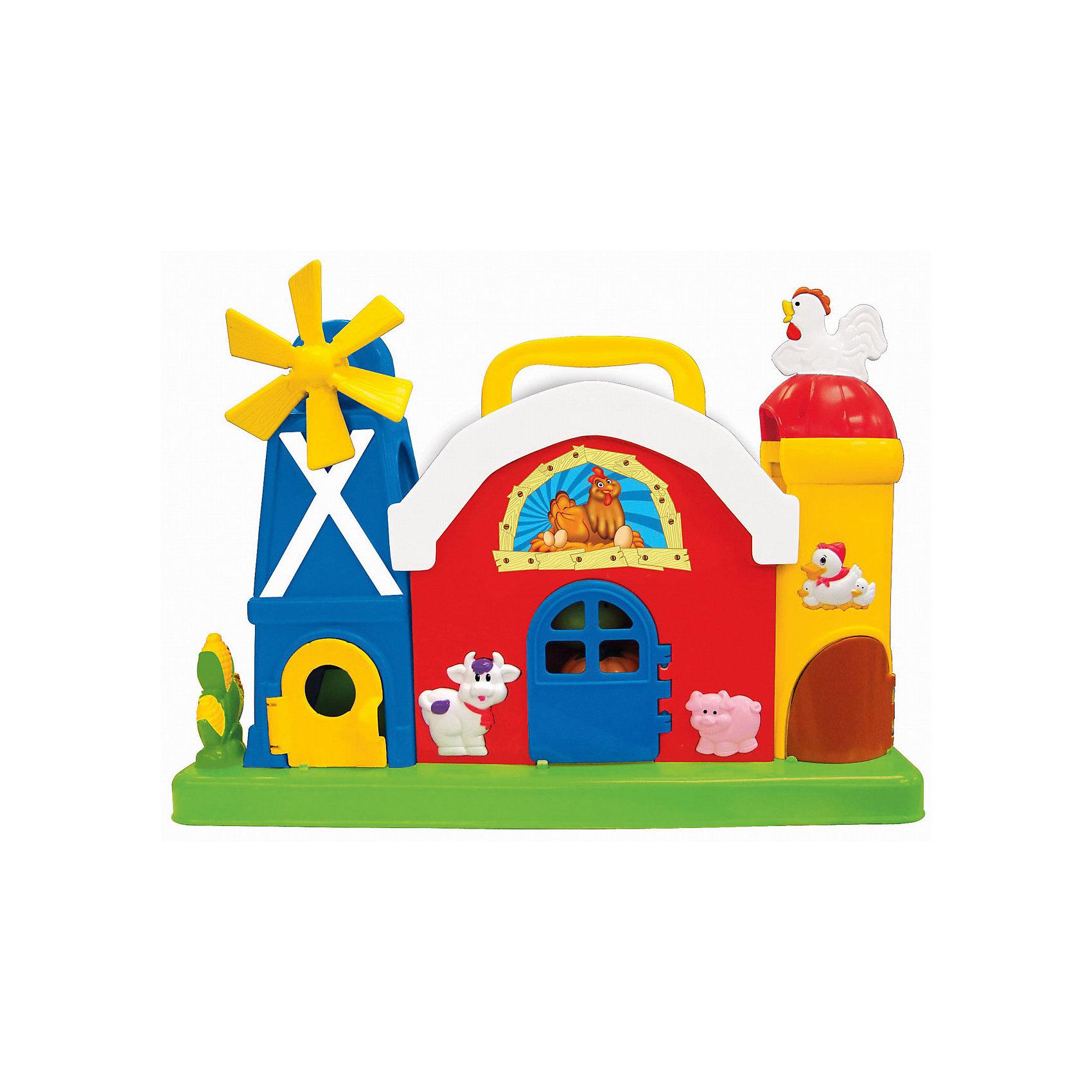 Развивающий центр Ферма с мельницей, KiddielandИгровые столики и центры<br>Развивающий центр Ферма с мельницей, Kiddieland<br><br>Характеристики:<br>- В набор входит: игрушка, элементы питания<br>- Материал: пластик<br>- Элементы питания: батарейки АА, 2 шт.<br>- Размер упаковки: 40 * 12 * 29 см.<br>Развивающий центр Ферма с мельницей от известного китайского бренда игрушек для детей Kiddieland (Киддилэнд) будет прекрасным подарком для ребенка. Целая ферма для развития и веселья! Разнообразные функции и отличные мелодии не оставят равнодушными к игрушке. В комплект входят три веселых овоща: помидорку, тыковку и капусту, которых нужно класть на крышу фермы, чтобы они скатились по мостику и оказались в одной из башен. После попадания в башню открывается дверка и овощ выкатывается из нее. Нажимая на разные кнопочки можно открывать дверки, слушать песенки и как говорят животные на ферме. Если покрутить курочку, то она закудахчет, мельница тоже крутится. Изготовленная из пластика высокого качества, разноцветная игрушка способствует развитию памяти, воображения, восприятия цвета и звука, социальных навыков, моторики рук.<br>Развивающий центр Ферма с мельницей, Kiddieland (Киддилэнд) можно купить в нашем интернет-магазине.<br>Подробнее:<br>• Для детей в возрасте: от 1 до 3 лет<br>• Номер товара: 5054094<br>Страна производитель: Китай<br><br>Ширина мм: 400<br>Глубина мм: 160<br>Высота мм: 180<br>Вес г: 1450<br>Возраст от месяцев: 12<br>Возраст до месяцев: 36<br>Пол: Унисекс<br>Возраст: Детский<br>SKU: 5054094