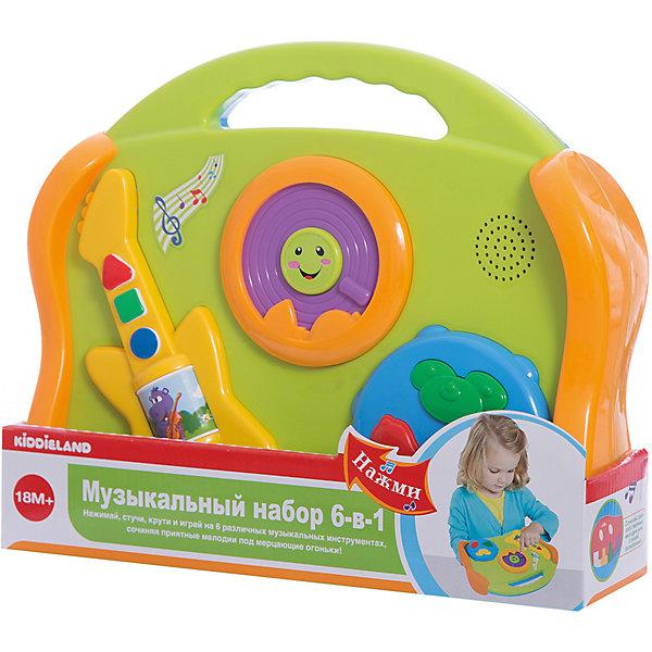 Развивающая игрушка Музыкальные инструменты 6 в 1, KiddielandДругие музыкальные инструменты<br>Развивающая игрушка Музыкальные инструменты 6 в 1, Kiddieland<br><br>Характеристики:<br><br>• Цвет: салатовый, голубой<br>• Материал: пластик<br>• Размер упаковки: 33х8х26<br>• Возраст: от 18 месяцев<br><br>Яркий и красочный набор 6 в 1 поможет приобщить малыша к музыке с самого раннего возраста. В одной небольшой игрушке малыш услышит пианино, гитару, барабан, губную гармошку, колокольчики и тарелки. На игрушке большие и удобные кнопки с двух сторон.<br><br>Развивающую игрушку Музыкальные инструменты 6 в 1, Kiddieland можно купить в нашем интернет-магазине.<br><br>Ширина мм: 290<br>Глубина мм: 200<br>Высота мм: 100<br>Вес г: 860<br>Возраст от месяцев: 12<br>Возраст до месяцев: 36<br>Пол: Унисекс<br>Возраст: Детский<br>SKU: 5054100