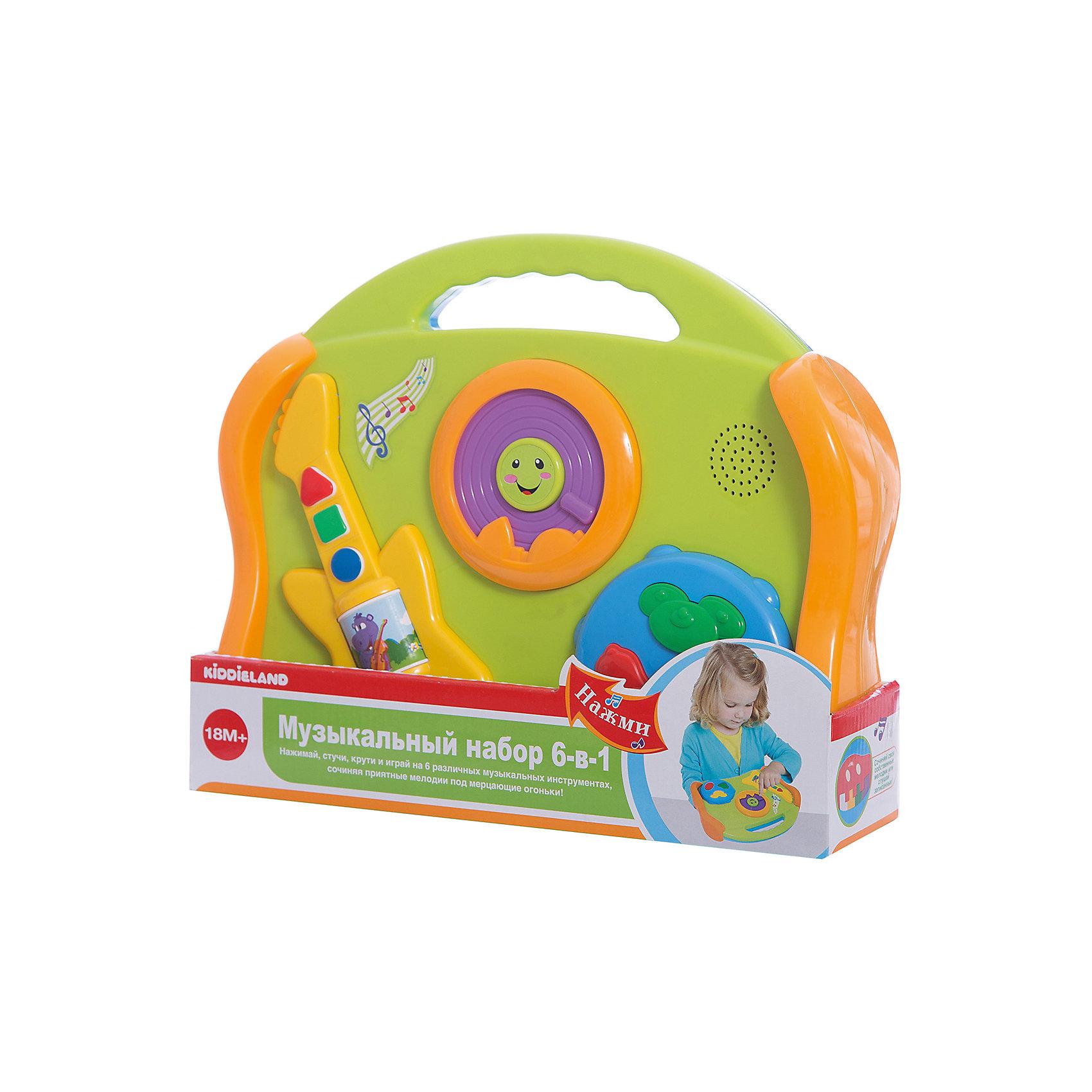 Развивающая игрушка Музыкальные инструменты 6 в 1, KiddielandРазвивающая игрушка Музыкальные инструменты 6 в 1, Kiddieland<br><br>Характеристики:<br><br>• Цвет: салатовый, голубой<br>• Материал: пластик<br>• Размер упаковки: 33х8х26<br>• Возраст: от 18 месяцев<br><br>Яркий и красочный набор 6 в 1 поможет приобщить малыша к музыке с самого раннего возраста. В одной небольшой игрушке малыш услышит пианино, гитару, барабан, губную гармошку, колокольчики и тарелки. На игрушке большие и удобные кнопки с двух сторон.<br><br>Развивающую игрушку Музыкальные инструменты 6 в 1, Kiddieland можно купить в нашем интернет-магазине.<br><br>Ширина мм: 290<br>Глубина мм: 200<br>Высота мм: 100<br>Вес г: 860<br>Возраст от месяцев: 12<br>Возраст до месяцев: 36<br>Пол: Унисекс<br>Возраст: Детский<br>SKU: 5054100