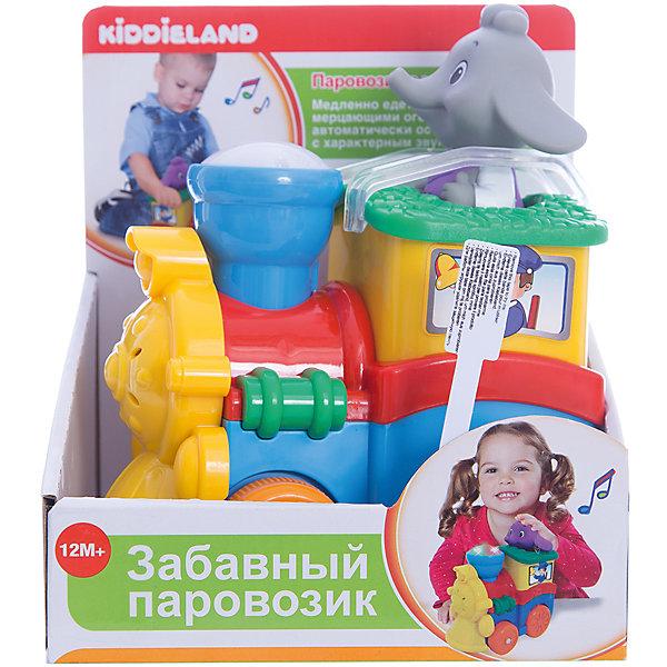 Развивающая игрушка Паровозик со слоненком, KiddielandИнтерактивные игрушки для малышей<br>Развивающая игрушка Паровозик со слоненком, Kiddieland (Киддилэнд).<br><br>Характеристики:<br>- Комплектация:  паровозик, слоненок машинист<br>- Материал: пластик<br>- Батарейки: 3 х АА / LR6 1.5V (входят в комплект)<br>- Вес: 0,54 кг.<br><br>Развивающая игрушка Паровозик со слоненком, Kiddieland (Киддилэнд) со светом и звуком на колесах развлечет малыша мигающими огоньками, приятной музыкой и забавными звуками. При нажатии на специальную кнопку поезд начинает движение и издает реалистичные звуки двигателя, а также зажигаются разноцветные огоньки. В комплекте — съемный Слоненок-машинист для более интересной игры. Игры с паровозиком способствуют развитию внимания, фантазии, логического мышления, цветового и звукового восприятия, мелкой моторики рук. Игрушка выполнена из качественных и безопасных для здоровья детей материалов.<br><br>Развивающую игрушку Паровозик со слоненком, Kiddieland (Киддилэнд) можно купить в нашем интернет-магазине.<br><br>Ширина мм: 170<br>Глубина мм: 130<br>Высота мм: 190<br>Вес г: 600<br>Возраст от месяцев: 12<br>Возраст до месяцев: 36<br>Пол: Унисекс<br>Возраст: Детский<br>SKU: 5054104