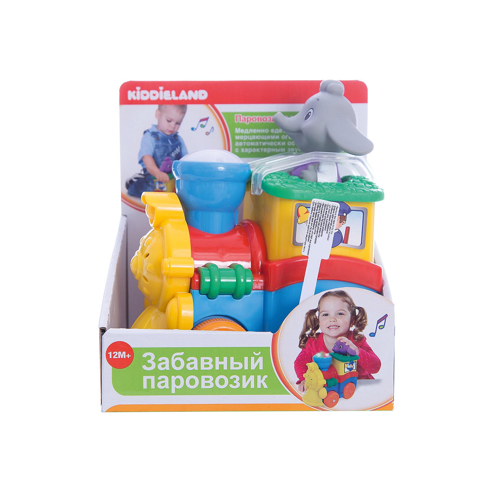 Развивающая игрушка Паровозик со слоненком, KiddielandРазвивающая игрушка Паровозик со слоненком, Kiddieland (Киддилэнд).<br><br>Характеристики:<br>- Комплектация:  паровозик, слоненок машинист<br>- Материал: пластик<br>- Батарейки: 3 х АА / LR6 1.5V (входят в комплект)<br>- Вес: 0,54 кг.<br><br>Развивающая игрушка Паровозик со слоненком, Kiddieland (Киддилэнд) со светом и звуком на колесах развлечет малыша мигающими огоньками, приятной музыкой и забавными звуками. При нажатии на специальную кнопку поезд начинает движение и издает реалистичные звуки двигателя, а также зажигаются разноцветные огоньки. В комплекте — съемный Слоненок-машинист для более интересной игры. Игры с паровозиком способствуют развитию внимания, фантазии, логического мышления, цветового и звукового восприятия, мелкой моторики рук. Игрушка выполнена из качественных и безопасных для здоровья детей материалов.<br><br>Развивающую игрушку Паровозик со слоненком, Kiddieland (Киддилэнд) можно купить в нашем интернет-магазине.<br><br>Ширина мм: 170<br>Глубина мм: 130<br>Высота мм: 190<br>Вес г: 600<br>Возраст от месяцев: 12<br>Возраст до месяцев: 36<br>Пол: Унисекс<br>Возраст: Детский<br>SKU: 5054104