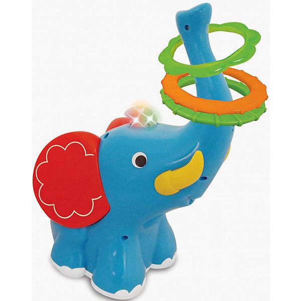Развивающая игрушка Слон-кольцеброс, KiddielandИнтерактивные игрушки для малышей<br>Развивающая игрушка Слон-кольцеброс, Kiddieland (Киддилэнд).<br><br>Характеристики:<br><br>- Комплектация: слоник, 3 кольца.<br>- Материал: пластик<br>- Батарейки: 3 х АА (входят в комплект)<br><br>Яркая развивающая игрушка Слон-кольцеброс, Kiddieland (Киддилэнд), несомненно, порадует малыша! Слоненок-кольцеброс оснащен колесиками. При движении Слоника вперед, назад и в разные стороны ребенок должен набросить кольца на его хобот. Игра сопровождается веселой музыкой и мерцанием разноцветных огоньков. Игра со слоником способствует развитию фантазии, воображения, пространственного мышления, мелкой моторики и координации движений. Все элементы набора выполнены из качественного пластика.<br><br>Развивающую игрушку Слон-кольцеброс, Kiddieland (Киддилэнд) можно купить в нашем интернет-магазине.<br>Ширина мм: 200; Глубина мм: 180; Высота мм: 300; Вес г: 800; Возраст от месяцев: 12; Возраст до месяцев: 36; Пол: Унисекс; Возраст: Детский; SKU: 5054105;