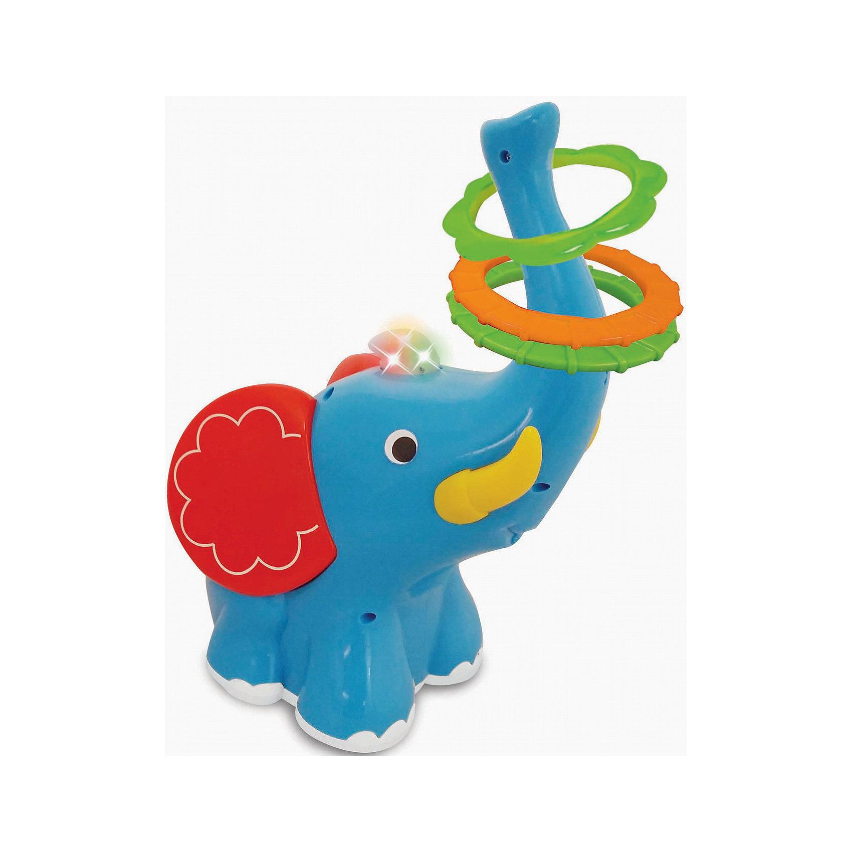 Развивающая игрушка Слон-кольцеброс, KiddielandРазвивающая игрушка Слон-кольцеброс, Kiddieland (Киддилэнд).<br><br>Характеристики:<br><br>- Комплектация: слоник, 3 кольца.<br>- Материал: пластик<br>- Батарейки: 3 х АА (входят в комплект)<br><br>Яркая развивающая игрушка Слон-кольцеброс, Kiddieland (Киддилэнд), несомненно, порадует малыша! Слоненок-кольцеброс оснащен колесиками. При движении Слоника вперед, назад и в разные стороны ребенок должен набросить кольца на его хобот. Игра сопровождается веселой музыкой и мерцанием разноцветных огоньков. Игра со слоником способствует развитию фантазии, воображения, пространственного мышления, мелкой моторики и координации движений. Все элементы набора выполнены из качественного пластика.<br><br>Развивающую игрушку Слон-кольцеброс, Kiddieland (Киддилэнд) можно купить в нашем интернет-магазине.<br><br>Ширина мм: 200<br>Глубина мм: 180<br>Высота мм: 300<br>Вес г: 800<br>Возраст от месяцев: 12<br>Возраст до месяцев: 36<br>Пол: Унисекс<br>Возраст: Детский<br>SKU: 5054105