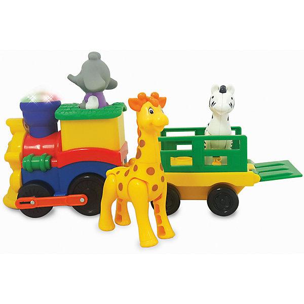 Развивающая игрушка Паровозик Сафари, KiddielandКаталки и качалки<br>Развивающая игрушка Паровозик Сафари, Kiddieland (Киддилэнд).<br><br>Характеристики:<br><br>- Комплектация: паровозик, слоненок машинист, жираф, зебра<br>- Материал: пластик<br>- Батарейки: 3 х АА<br>- Размер паровозика: 30х19х11,5 см.<br><br>Яркая развивающая игрушка «Паровозик сафари» от Kiddieland (Киддилэнд) станет отличным подарком для каждого ребенка. При нажатии на специальную кнопку поезд начинает движение и издает забавные звуки, а также зажигаются разноцветные огоньки. Управляет паровозиком съемный слоненок машинист, а в вагоне, прицепленном к локомотиву, с удобством разместились жираф и зебра. Игрушка выполнена из качественных и безопасных для здоровья детей материалов. Игры с паровозиком способствуют развитию внимания, фантазии, логического мышления, цветового и звукового восприятия, мелкой моторики рук.<br><br>Развивающую игрушку Паровозик Сафари, Kiddieland (Киддилэнд) можно купить в нашем интернет-магазине.<br><br>Ширина мм: 340<br>Глубина мм: 110<br>Высота мм: 150<br>Вес г: 1000<br>Возраст от месяцев: 12<br>Возраст до месяцев: 36<br>Пол: Унисекс<br>Возраст: Детский<br>SKU: 5054106