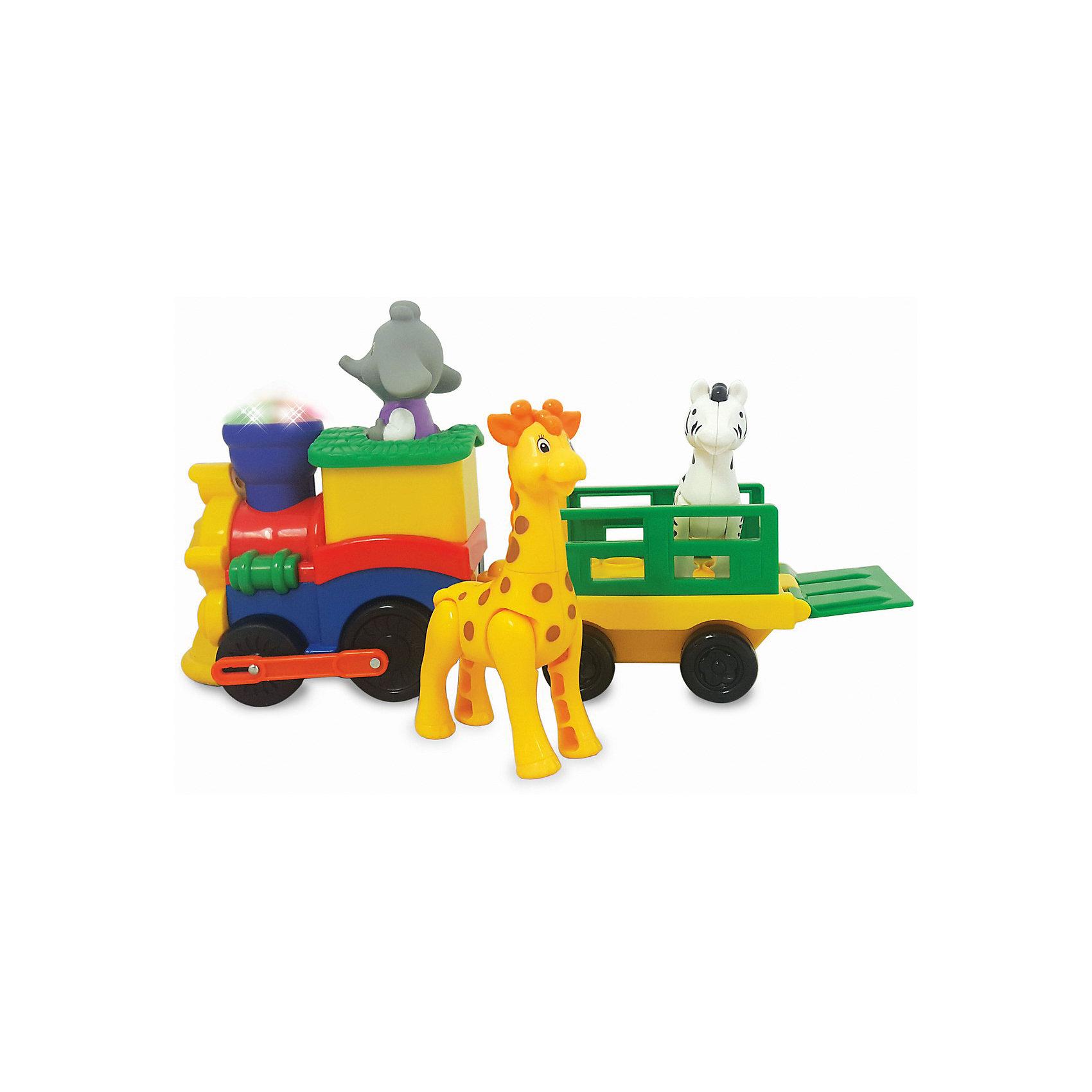 Развивающая игрушка Паровозик Сафари, KiddielandРазвивающие игрушки<br>Развивающая игрушка Паровозик Сафари, Kiddieland (Киддилэнд).<br><br>Характеристики:<br><br>- Комплектация: паровозик, слоненок машинист, жираф, зебра<br>- Материал: пластик<br>- Батарейки: 3 х АА<br>- Размер паровозика: 30х19х11,5 см.<br><br>Яркая развивающая игрушка «Паровозик сафари» от Kiddieland (Киддилэнд) станет отличным подарком для каждого ребенка. При нажатии на специальную кнопку поезд начинает движение и издает забавные звуки, а также зажигаются разноцветные огоньки. Управляет паровозиком съемный слоненок машинист, а в вагоне, прицепленном к локомотиву, с удобством разместились жираф и зебра. Игрушка выполнена из качественных и безопасных для здоровья детей материалов. Игры с паровозиком способствуют развитию внимания, фантазии, логического мышления, цветового и звукового восприятия, мелкой моторики рук.<br><br>Развивающую игрушку Паровозик Сафари, Kiddieland (Киддилэнд) можно купить в нашем интернет-магазине.<br><br>Ширина мм: 340<br>Глубина мм: 110<br>Высота мм: 150<br>Вес г: 1000<br>Возраст от месяцев: 12<br>Возраст до месяцев: 36<br>Пол: Унисекс<br>Возраст: Детский<br>SKU: 5054106