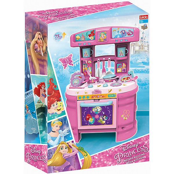 Игровая кухня большая Принцесса, BildoДетские кухни<br>Игровая кухня большая Принцесса, Bildo.<br><br>Характеристики:<br><br>- В комплекте: кухня, набор посуды, наклейки<br>- Количество аксессуаров: 17<br>- Высота кухни в собранном виде: 75 см.<br>- Материал: пластик<br><br>Вашей маленькой хозяйке понравиться готовить королевский обед на кухне с изображением любимых принцесс Диснея. Мега Кухня оснащена 17 аксессуарами для реалистичной игры, включая пластиковые тарелки, кастрюли, столовые приборы и посуду. В духовом шкафчике с открывающейся дверцей, девочка сможет испечь пирог, а на реалистичной плите пожарить яичницу. Игровая кухня, также оборудована раковиной для «мытья» грязной посуды, полками для хранения чашек и крючками для подвешивания кухонных принадлежностей. Великолепная большая кухня Принцесса, Bildo не даст вашей девочке заскучать и позволит почувствовать себя настоящей хозяюшкой. А наклейки с изображением Диснеевских принцесс сделают игру более увлекательной. Все элементы набора изготовлены из качественного безопасного пластика.<br><br>Игровую кухню большую Принцесса, Bildo можно купить в нашем интернет-магазине.<br><br>Ширина мм: 750<br>Глубина мм: 490<br>Высота мм: 190<br>Вес г: 2910<br>Возраст от месяцев: 36<br>Возраст до месяцев: 60<br>Пол: Женский<br>Возраст: Детский<br>SKU: 5054110