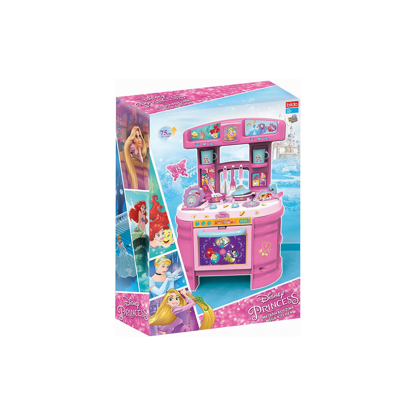 Игровая кухня большая Принцесса, BildoИгровая кухня большая Принцесса, Bildo.<br><br>Характеристики:<br><br>- В комплекте: кухня, набор посуды, наклейки<br>- Количество аксессуаров: 17<br>- Высота кухни в собранном виде: 75 см.<br>- Материал: пластик<br><br>Вашей маленькой хозяйке понравиться готовить королевский обед на кухне с изображением любимых принцесс Диснея. Мега Кухня оснащена 17 аксессуарами для реалистичной игры, включая пластиковые тарелки, кастрюли, столовые приборы и посуду. В духовом шкафчике с открывающейся дверцей, девочка сможет испечь пирог, а на реалистичной плите пожарить яичницу. Игровая кухня, также оборудована раковиной для «мытья» грязной посуды, полками для хранения чашек и крючками для подвешивания кухонных принадлежностей. Великолепная большая кухня Принцесса, Bildo не даст вашей девочке заскучать и позволит почувствовать себя настоящей хозяюшкой. А наклейки с изображением Диснеевских принцесс сделают игру более увлекательной. Все элементы набора изготовлены из качественного безопасного пластика.<br><br>Игровую кухню большую Принцесса, Bildo можно купить в нашем интернет-магазине.<br><br>Ширина мм: 750<br>Глубина мм: 490<br>Высота мм: 190<br>Вес г: 2910<br>Возраст от месяцев: 36<br>Возраст до месяцев: 60<br>Пол: Женский<br>Возраст: Детский<br>SKU: 5054110