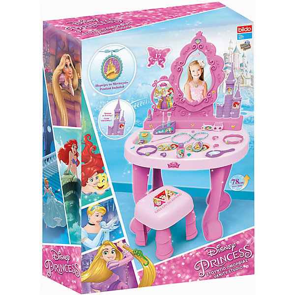 Игровая парикмахерская большая Принцесса , BildoСалон красоты<br>Игровая парикмахерская большая Принцесса , Bildo.<br><br>Характеристики:<br><br>- В наборе: столик с зеркалом, стульчик, 17 аксессуаров, наклейки<br>- Высота столика: 78 см.<br>- Материал: пластик<br><br>В большой игровой набор парикмахерская Принцесса, входит 17 аксессуаров для реалистичной игры, включая расческу, кольца и имитацию макияжа. Маленькой леди будет удобно сидеть на розовом стульчике перед большим зеркалом для макияжа. Великолепная большая парикмахерская Принцесса от Bildo не даст вашей девочке заскучать и позволит ей почувствовать себя настоящим стилистом. А декоративные наклейки сделают игру более увлекательной. Все элементы набора изготовлены из качественного безопасного пластика.<br><br>Игровую парикмахерскую большую Принцесса , Bildo можно купить в нашем интернет-магазине.<br><br>Ширина мм: 750<br>Глубина мм: 490<br>Высота мм: 190<br>Вес г: 2800<br>Возраст от месяцев: 36<br>Возраст до месяцев: 60<br>Пол: Женский<br>Возраст: Детский<br>SKU: 5054111
