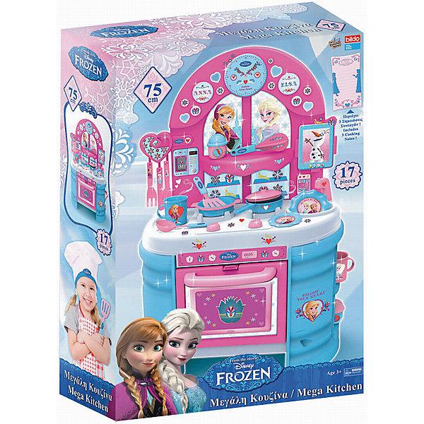 Игровая кухня большая Холодное сердце, BildoДетские кухни<br>Игровая кухня большая Холодное сердце, Bildo.<br><br>Характеристики:<br><br>- В комплекте: кухня, набор посуды, наклейки<br>- Количество аксессуаров: 17<br>- Высота кухни в собранном виде: 75 см.<br>- Материал: пластик<br><br>Вашей маленькой хозяйке понравиться готовить королевский обед на кухне выполненной по мотивам мультсериала «Холодное сердце». Мега Кухня оснащена 17 аксессуарами для реалистичной игры, включая пластиковые тарелки, кастрюли, столовые приборы и посуду. В духовом шкафчике с открывающейся дверцей, девочка сможет испечь пирог, а на реалистичной плите пожарить яичницу. Игровая кухня, также оборудована раковиной для «мытья» грязной посуды, полками для хранения чашек и крючками для подвешивания кухонных принадлежностей. Великолепная большая кухня Холодное сердце, Bildo не даст вашей девочке заскучать и позволит почувствовать себя настоящей хозяюшкой. А яркие наклейки сделают игру более увлекательной. Все элементы набора изготовлены из качественного безопасного пластика.<br><br>Игровую кухню большую Холодное сердце, Bildo можно купить в нашем интернет-магазине.<br>Ширина мм: 750; Глубина мм: 490; Высота мм: 190; Вес г: 3670; Возраст от месяцев: 36; Возраст до месяцев: 60; Пол: Женский; Возраст: Детский; SKU: 5054119;
