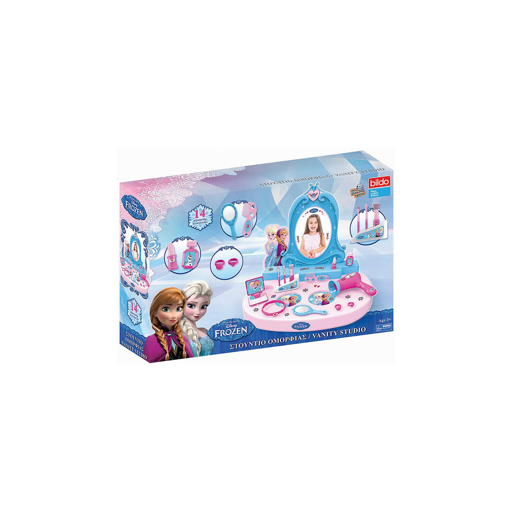 Игровая парикмахерская Холодное сердце, BildoХолодное Сердце<br>Игровая парикмахерская Холодное сердце, Bildo.<br><br>Характеристики:<br><br>- В наборе: столик с зеркалом, 14 аксессуаров, наклейки<br>- Материал: пластик<br><br>В игровой набор парикмахерская Холодное сердце, входит 14 аксессуаров для реалистичной игры, включая расческу, зеркало, фен, кольца и имитацию макияжа. Маленькой леди очень понравиться большое зеркало для макияжа. Великолепная парикмахерская Холодное сердце от Bildo не даст вашей девочке заскучать и позволит ей почувствовать себя настоящим стилистом. А декоративные наклейки сделают игру более увлекательной. Все элементы набора изготовлены из качественного безопасного пластика.<br><br>Игровую парикмахерскую Холодное сердце, Bildo можно купить в нашем интернет-магазине.<br><br>Ширина мм: 500<br>Глубина мм: 350<br>Высота мм: 90<br>Вес г: 850<br>Возраст от месяцев: 36<br>Возраст до месяцев: 60<br>Пол: Женский<br>Возраст: Детский<br>SKU: 5054124