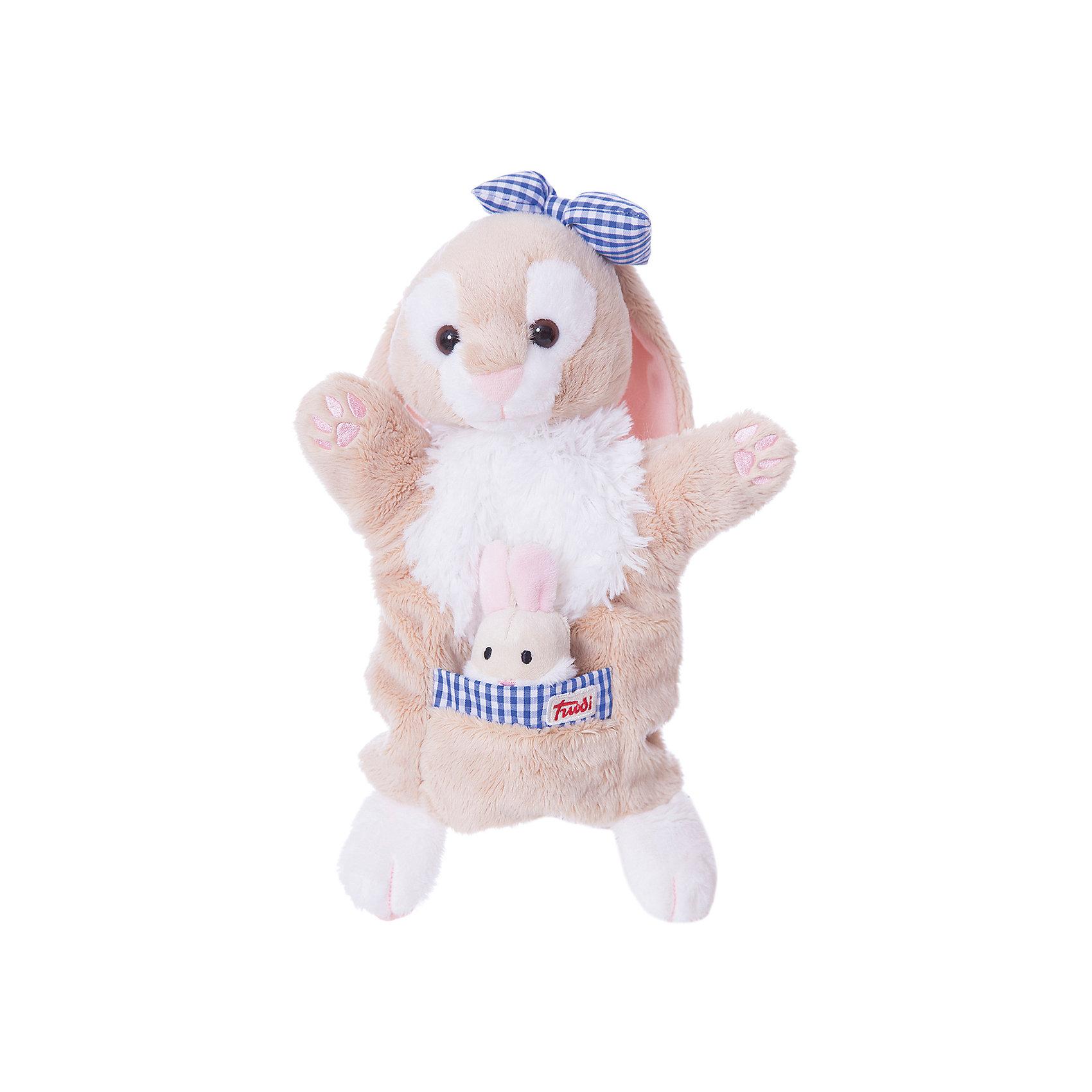 Trudi Мягкая игрушка на руку Зайчиха с зайчонком, 28 см, Trudi мягкие игрушки trudi лайка маркус 34 см