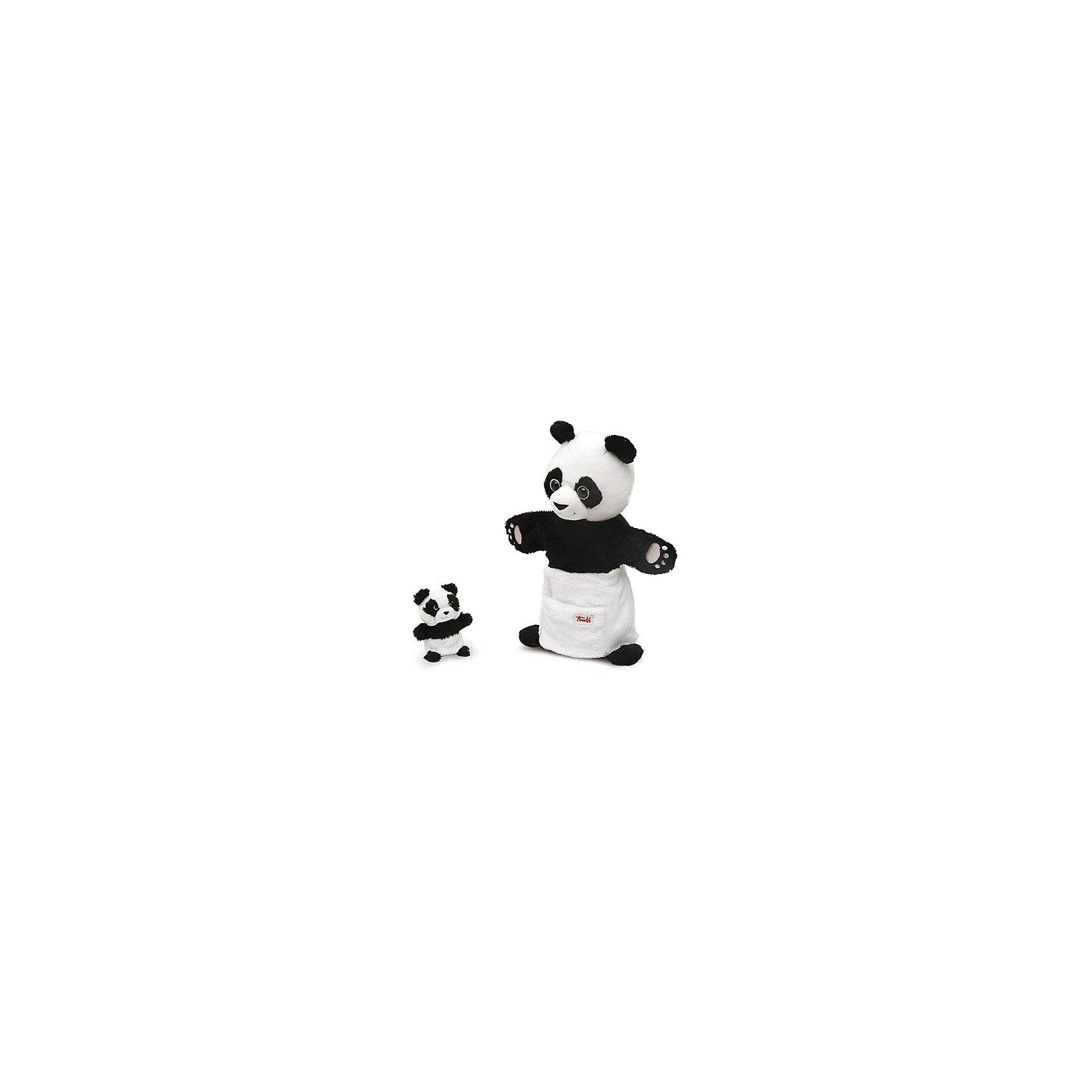 Trudi Мягкая игрушка на руку Панда с детенышем, 28 см, Trudi мягкие игрушки trudi лайка маркус 34 см