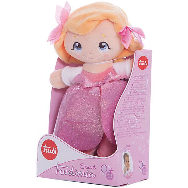 Мягкая кукла Королева цветов, 26 см, TrudiКуклы<br>Милая мягкая куколка станет отличным подарком любой девочке. Большие добрые глаза, блестящие бантики-цветы и красивое розовое платье никого не оставят равнодушным! С такой куклой будет очень весело играть днем и спокойно и уютно засыпать ночью. Игрушка очень приятная на ощупь, выполнена из мягкого плюша, набита гипоаллергенным нетоксичным наполнителем - абсолютно безопасна для детей. <br><br>Дополнительная информация:<br><br>- Материал: плюш, пластик, текстиль, искусственный мех. <br>- Высота: 26 см. <br><br>Мягкую куклу Королева цветов, 26 см, Trudi (Труди), можно купить в нашем магазине.<br><br>Ширина мм: 150<br>Глубина мм: 260<br>Высота мм: 90<br>Вес г: 160<br>Возраст от месяцев: 12<br>Возраст до месяцев: 2147483647<br>Пол: Женский<br>Возраст: Детский<br>SKU: 5055265