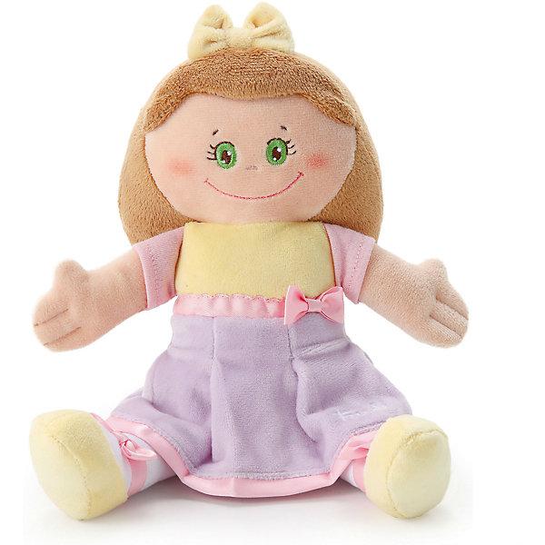 Мягкая кукла в желто-сиреневом платье, 24 см, TrudiКуклы<br>Мягкая кукла в желто-сиреневом платье, 24 см. от популярного итальянского бренда Trudi (Труди) станет первой подругой малыша с самого рождения. Кукла изготовлена из безопасных материалов, не содержит мелких деталей и разработана специально для новорожденных. Мягкие оттенки сиреневого и пастельного желтого придут по вкусу крохе, а красивые зеленые глаза убеждают в том, что кукла будто живая. Детишки постарше смогут играть с куклой в дочки-матери и отрабатывать социальные навыки. Игрушка-кукла поможет развить воображение, навыки общения, моторику рук, а также тактильное и цветовое восприятие.   <br>Дополнительная информация:<br><br>- Состав: текстиль<br>- Размер: 24 см. <br><br>Мягкую куклу в желто-сиреневом платье, 24 см, Trudi (Труди) можно купить в нашем интернет-магазине.<br>Подробнее:<br>• Для детей в возрасте: от 0 месяцев <br>• Номер товара: 5055273<br>Страна производитель: Китай<br><br>Ширина мм: 135<br>Глубина мм: 90<br>Высота мм: 240<br>Вес г: 130<br>Возраст от месяцев: -2147483648<br>Возраст до месяцев: 2147483647<br>Пол: Женский<br>Возраст: Детский<br>SKU: 5055273