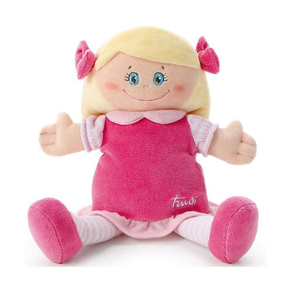 Мягкая кукла в малиновом платье, 24 см, TrudiКуклы<br>Мягкая кукла в малиновом платье, 24 см. от популярного итальянского бренда Trudi (Труди) станет первой подругой малыша с самого рождения. Кукла изготовлена из безопасных материалов, не содержит мелких деталей и разработана специально для новорожденных. Приятные оттенки малинового придут по вкусу крохе, а красивые голубые глаза убеждают в том, что кукла будто живая. Детишки постарше смогут играть с куклой в дочки-матери и отрабатывать социальные навыки. Игрушка-кукла поможет развить воображение, навыки общения, моторику рук, а также тактильное и цветовое восприятие.   <br>Дополнительная информация:<br><br>- Состав: текстиль<br>- Размер: 24 см. <br><br>Мягкую куклу в малиновом платье, 24 см, Trudi (Труди) можно купить в нашем интернет-магазине.<br>Подробнее:<br>• Для детей в возрасте: от 0 месяцев <br>• Номер товара: 5055274<br>Страна производитель: Китай<br>Ширина мм: 135; Глубина мм: 90; Высота мм: 240; Вес г: 130; Возраст от месяцев: -2147483648; Возраст до месяцев: 2147483647; Пол: Женский; Возраст: Детский; SKU: 5055274;