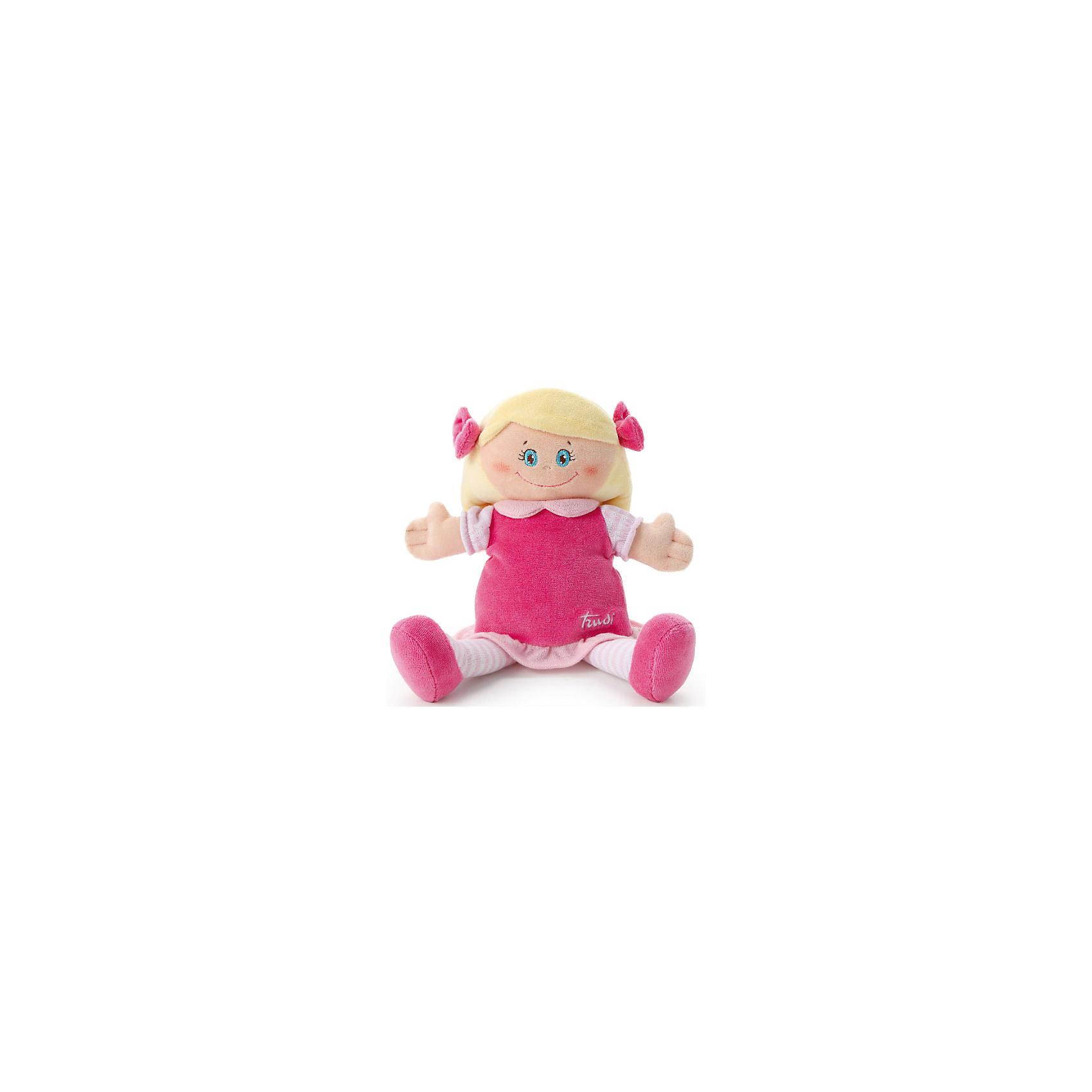 Мягкая кукла в малиновом платье, 24 см, TrudiМягкая кукла в малиновом платье, 24 см. от популярного итальянского бренда Trudi (Труди) станет первой подругой малыша с самого рождения. Кукла изготовлена из безопасных материалов, не содержит мелких деталей и разработана специально для новорожденных. Приятные оттенки малинового придут по вкусу крохе, а красивые голубые глаза убеждают в том, что кукла будто живая. Детишки постарше смогут играть с куклой в дочки-матери и отрабатывать социальные навыки. Игрушка-кукла поможет развить воображение, навыки общения, моторику рук, а также тактильное и цветовое восприятие.   <br>Дополнительная информация:<br><br>- Состав: текстиль<br>- Размер: 24 см. <br><br>Мягкую куклу в малиновом платье, 24 см, Trudi (Труди) можно купить в нашем интернет-магазине.<br>Подробнее:<br>• Для детей в возрасте: от 0 месяцев <br>• Номер товара: 5055274<br>Страна производитель: Китай<br><br>Ширина мм: 135<br>Глубина мм: 90<br>Высота мм: 240<br>Вес г: 130<br>Возраст от месяцев: -2147483648<br>Возраст до месяцев: 2147483647<br>Пол: Женский<br>Возраст: Детский<br>SKU: 5055274