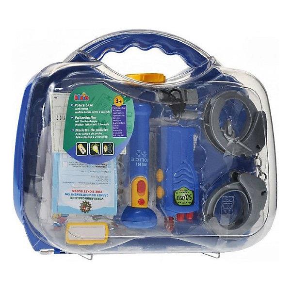 Набор полицейского в кейсе, KleinНаборы полицейского, пожарного<br>Набор полицейского в кейсе от популярного немецкого бренда игрушек для детей Klein (Кляйн) станет отличным дополнением к играм в полицейских. Стильный полупрозрачный чемоданчик включает в себя все основные предметы каждого полицейского. В набор включена интерактивная рация с кнопками, издающая звуки, работающий фонарь, пластиковые наручники и два ключа, свисток на шнурке, удостоверение полицейского с полем для фотографии, набор выписывания штрафов с карандашом и маленький бейджик для имени полицейского. Игрушка поможет развить воображение и моторику рук.   <br>Дополнительная информация:<br><br>- В комплект входит: чемоданчик, рация, фонарик, наручники, свисток, удостоверение, пачка штрафов с отрывным краем, карандаш, бейджик<br>- Состав: пластик<br>- Параметры: 29 * 9 * 32 см. <br>- Элементы питания: 2 * 1,5 V (R6) АА;  2 * 1,5 V (R03) ААА<br><br>Набор полицейского в кейсе, Klein (Кляйн) можно купить в нашем интернет-магазине.<br>Подробнее:<br>• Для детей в возрасте: от 3 до 6 лет <br>• Номер товара: 5055277<br>Страна производитель: Китай<br><br>Ширина мм: 280<br>Глубина мм: 280<br>Высота мм: 252<br>Вес г: 799<br>Возраст от месяцев: 36<br>Возраст до месяцев: 120<br>Пол: Мужской<br>Возраст: Детский<br>SKU: 5055277