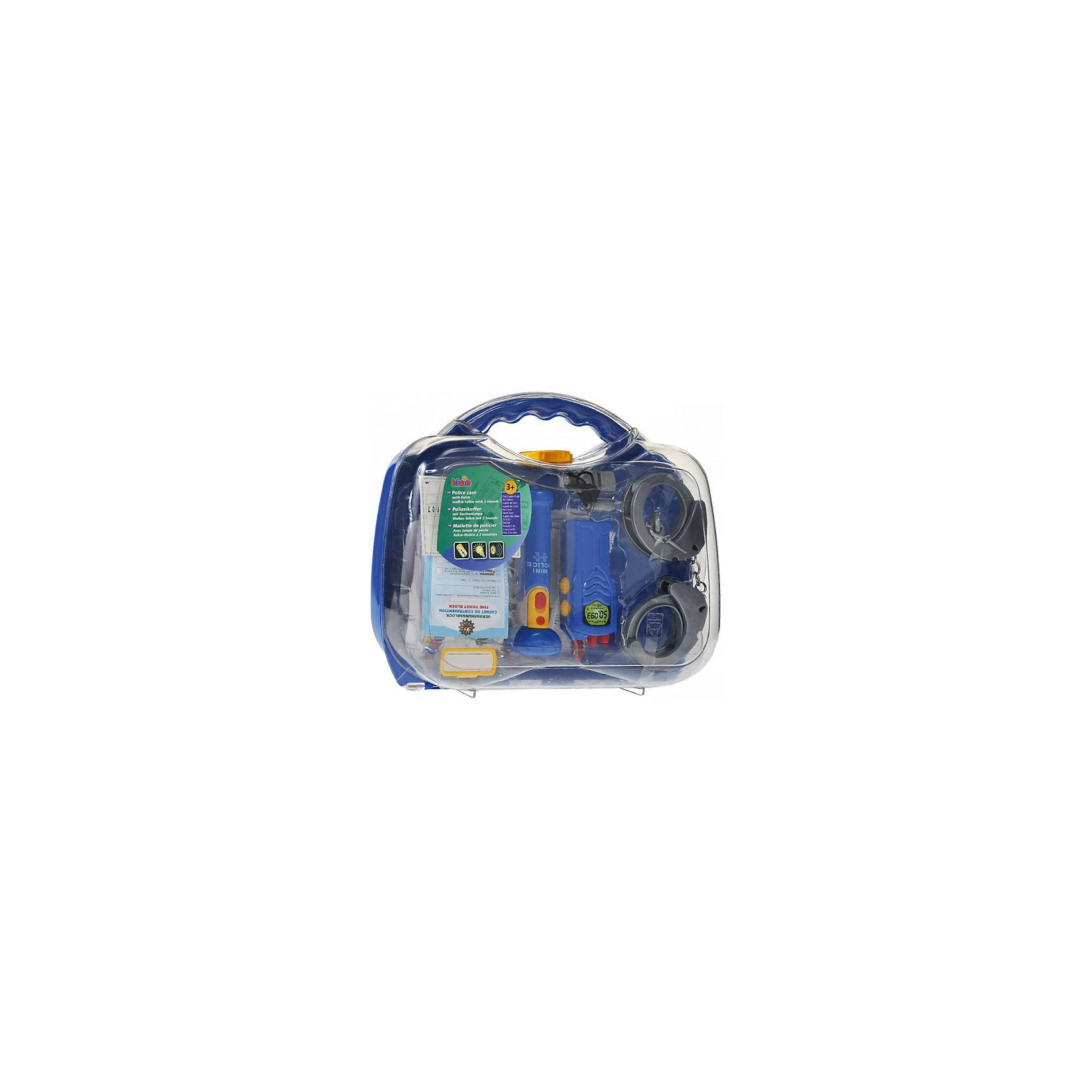 Набор полицейского в кейсе, KleinСюжетно-ролевые игры<br>Набор полицейского в кейсе от популярного немецкого бренда игрушек для детей Klein (Кляйн) станет отличным дополнением к играм в полицейских. Стильный полупрозрачный чемоданчик включает в себя все основные предметы каждого полицейского. В набор включена интерактивная рация с кнопками, издающая звуки, работающий фонарь, пластиковые наручники и два ключа, свисток на шнурке, удостоверение полицейского с полем для фотографии, набор выписывания штрафов с карандашом и маленький бейджик для имени полицейского. Игрушка поможет развить воображение и моторику рук.   <br>Дополнительная информация:<br><br>- В комплект входит: чемоданчик, рация, фонарик, наручники, свисток, удостоверение, пачка штрафов с отрывным краем, карандаш, бейджик<br>- Состав: пластик<br>- Параметры: 29 * 9 * 32 см. <br>- Элементы питания: 2 * 1,5 V (R6) АА;  2 * 1,5 V (R03) ААА<br><br>Набор полицейского в кейсе, Klein (Кляйн) можно купить в нашем интернет-магазине.<br>Подробнее:<br>• Для детей в возрасте: от 3 до 6 лет <br>• Номер товара: 5055277<br>Страна производитель: Китай<br><br>Ширина мм: 280<br>Глубина мм: 280<br>Высота мм: 252<br>Вес г: 799<br>Возраст от месяцев: 36<br>Возраст до месяцев: 120<br>Пол: Мужской<br>Возраст: Детский<br>SKU: 5055277