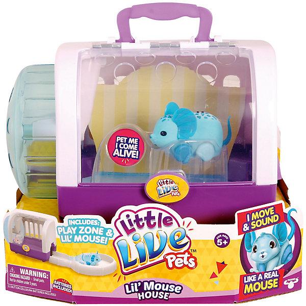 Интерактивная мышка в домике, голубая, Little Live PetsИнтерактивные животные<br>Интерактивная мышка в домике, голубая, Little Live Pets – разнообразит досуг вашего малыша.<br>Маленький мышонок изготовлен из качественного материала, который не только безопасен для ребенка, но еще и очень прочен. На ощупь мышонок напоминает реального зверька. Игрушка на колесиках, поэтому быстро передвигается по комнате или в колесе. Кроме этого мышка фырчит и пищит как настоящая. Достаточно погладить мышку, чтобы она начала движение. У мышонка есть свой домик, колесо и игровая площадка. <br><br>Дополнительная информация:<br><br>- материал: флок, пластик<br>- возраст: от 5 лет<br>- на батарейках AG13 (LR44) <br>- цвет: голубой<br><br>Интерактивную мышку в домике, голубая, Little Live Pets можно купить в нашем интернет-магазине.<br><br>Ширина мм: 170<br>Глубина мм: 235<br>Высота мм: 190<br>Вес г: 770<br>Возраст от месяцев: 60<br>Возраст до месяцев: 120<br>Пол: Унисекс<br>Возраст: Детский<br>SKU: 5055301