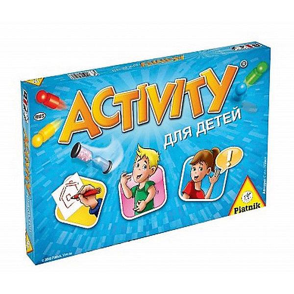 Игра Активити для детей, PiatnikТоп игр<br>Игра Активити для детей, Piatnik – настольная игра для веселой вечеринки.<br>При помощи жестов, мимики, рисования или слов игроки объясняют своим командам или друг другу слова и словосочетания. Шумная, активная и веселая игра помогает развлечь даже очень большую компанию. Тяните карточку, выбирайте действие и начинайте объяснять. В набор входят 220 карточек, 4 фишки и песочные часы. <br><br>Дополнительная информация:<br><br>- возраст: от 8 лет<br>- количество игроков: от 2 <br><br>Игру Активити для детей, Piatnik можно купить в нашем интернет-магазине.<br><br>Ширина мм: 220<br>Глубина мм: 345<br>Высота мм: 45<br>Вес г: 870<br>Возраст от месяцев: 96<br>Возраст до месяцев: 2147483647<br>Пол: Унисекс<br>Возраст: Детский<br>SKU: 5055313
