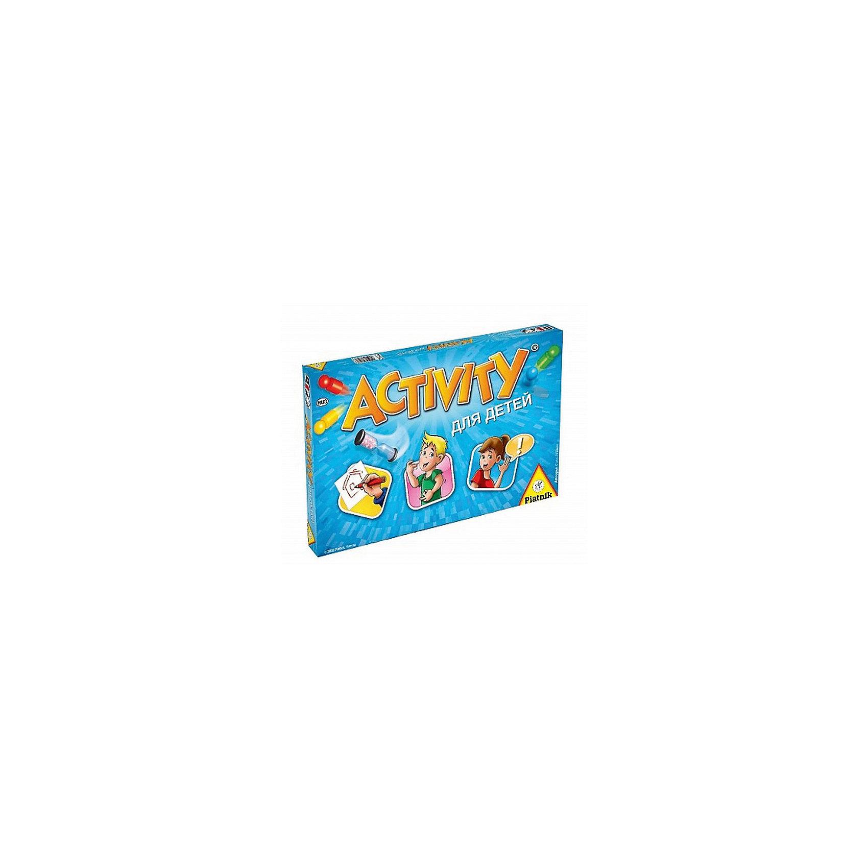 Игра Активити для детей, PiatnikИгры в дорогу<br>Игра Активити для детей, Piatnik – настольная игра для веселой вечеринки.<br>При помощи жестов, мимики, рисования или слов игроки объясняют своим командам или друг другу слова и словосочетания. Шумная, активная и веселая игра помогает развлечь даже очень большую компанию. Тяните карточку, выбирайте действие и начинайте объяснять. В набор входят 220 карточек, 4 фишки и песочные часы. <br><br>Дополнительная информация:<br><br>- возраст: от 8 лет<br>- количество игроков: от 2 <br><br>Игру Активити для детей, Piatnik можно купить в нашем интернет-магазине.<br><br>Ширина мм: 220<br>Глубина мм: 345<br>Высота мм: 45<br>Вес г: 870<br>Возраст от месяцев: 96<br>Возраст до месяцев: 2147483647<br>Пол: Унисекс<br>Возраст: Детский<br>SKU: 5055313
