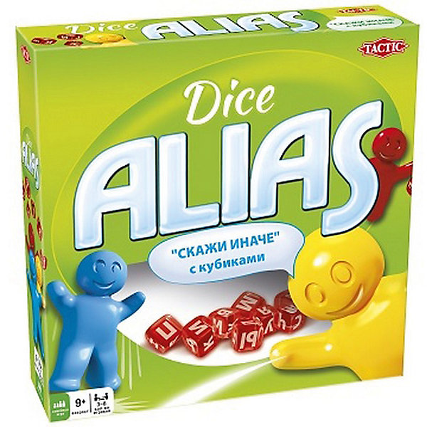 Игра Alias с кубиками, Tactic GamesТоп игр<br>Игра Alias с кубиками, Tactic Games – развлечение для шумной компании. <br>В игре 400 карточек со словами и выражениями. В общей сложности около трех тысяч разнообразных заданий. Игроки должны поочередно объяснять слова антонимами, синонимами и другими способами, не называя само слово. Количество игроков не ограничено.<br><br>Дополнительная информация:<br><br>- возраст: от 8 лет<br><br>Игру Alias с кубиками, Tactic Games можно купить в нашем интернет-магазине.<br>Ширина мм: 250; Глубина мм: 62; Высота мм: 250; Вес г: 600; Возраст от месяцев: 96; Возраст до месяцев: 2147483647; Пол: Унисекс; Возраст: Детский; SKU: 5055327;