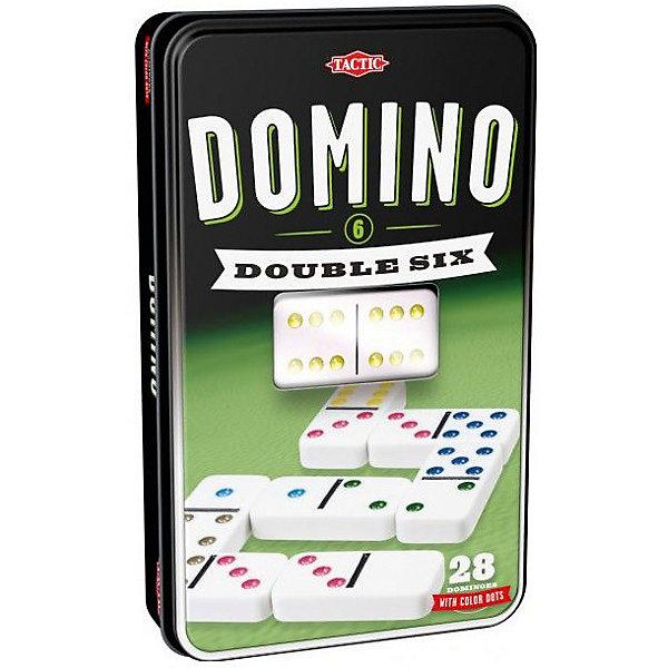 Домино, Tactic GamesДомино<br>Весело проводить время с компанией или всей семьей поможет настольная игра «Домино». Смысл игры заключается в том, чтобы выстроить цепь костяшек, которые соединяются половинками с равным количеством точек. Во время игры нужно зарабатывать баллы. Кто первый наберет 100 баллов, тот и победитель.<br>Такие игры способствуют развитию реакции, интеллекта, гибкости мышления и логики. Продается в удобной для хранения и использования упаковке. Сделана из материалов, безопасных для детей.<br><br>Дополнительная информация:<br><br>упаковка: картонная коробка;<br>комплектация: 28 костяшек и правила игры;<br>материал: пластик, картон.<br><br>Настольную игру «Домино» от бренда Tactic Games (Тактик Геймс) можно купить в нашем интернет-магазине.<br>Ширина мм: 250; Глубина мм: 250; Высота мм: 62; Вес г: 970; Возраст от месяцев: 84; Возраст до месяцев: 2147483647; Пол: Унисекс; Возраст: Детский; SKU: 5055333;