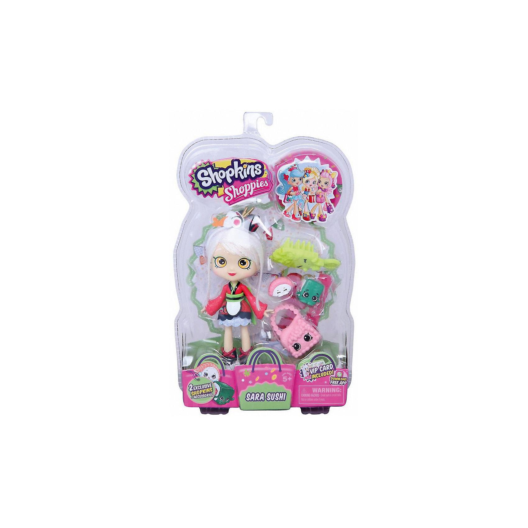 Кукла Сара-Суши с аксессуарами, ShopkinsShopkins<br>Шопкинс - это любимые герои многих современных детей! Кукла в виде героини из одноименного мультфильма Сара-Суши обязательно порадует ребенка, тем более, что она дополнена стильным нарядом и аксессуарами.<br>Такие игрушки способствуют развитию мелкой моторики, мышления и социальных навыков. Также куклы помогают девочкам научиться ухаживать за собой и за другими. Сделана из материалов, безопасных для детей.<br><br>Дополнительная информация:<br><br>комплектация: кукла, сумочка, 2 эксклюзивных Shopkins, расческа, VIP карточка и подставка для куклы;<br>рекомендуемый возраст: от трех лет;<br>материал: полимер.<br><br>Куклу Сара-Суши с аксессуарами от бренда Shopkins (Шопкинс) можно купить в нашем интернет-магазине.<br><br>Ширина мм: 68<br>Глубина мм: 170<br>Высота мм: 250<br>Вес г: 250<br>Возраст от месяцев: 36<br>Возраст до месяцев: 120<br>Пол: Женский<br>Возраст: Детский<br>SKU: 5055352