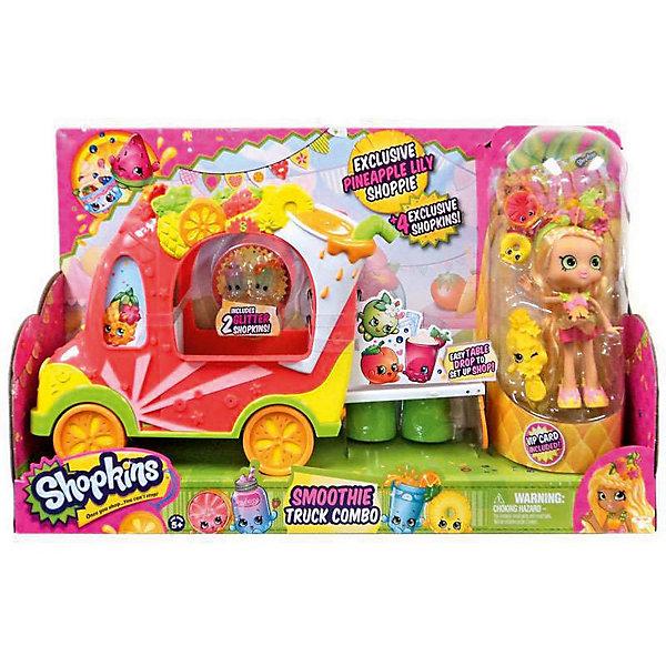Игровой набор Смузи грузовичок и Тропическая Лили, ShopkinsКоллекционные и игровые фигурки<br>Играть с любимыми мультяшными персонажами всегда веселее! Шопкинс - это любимые герои многих современных детей. Фигурки в виде героев из одноименного мультфильма обязательно порадуют ребенка. Также в набор входит кукла и аксессуары.<br>Такие игрушки способствуют развитию мелкой моторики, мышления и социальных навыков. Подобные игры помогают девочкам научиться ухаживать за собой и за другими. Игрушка сделана из материалов, безопасных для детей.<br><br>Дополнительная информация:<br><br>комплектация: куколка Shoppie, четыре фигурки, грузовичок, расческа и Vip карточка;<br>рекомендуемый возраст: от пяти лет;<br>материал: полимер.<br><br>Игровой набор Смузи грузовичок и Тропическая Лили от бренда Shopkins (Шопкинс) можно купить в нашем интернет-магазине.<br><br>Ширина мм: 445<br>Глубина мм: 120<br>Высота мм: 280<br>Вес г: 1490<br>Возраст от месяцев: 60<br>Возраст до месяцев: 120<br>Пол: Женский<br>Возраст: Детский<br>SKU: 5055358