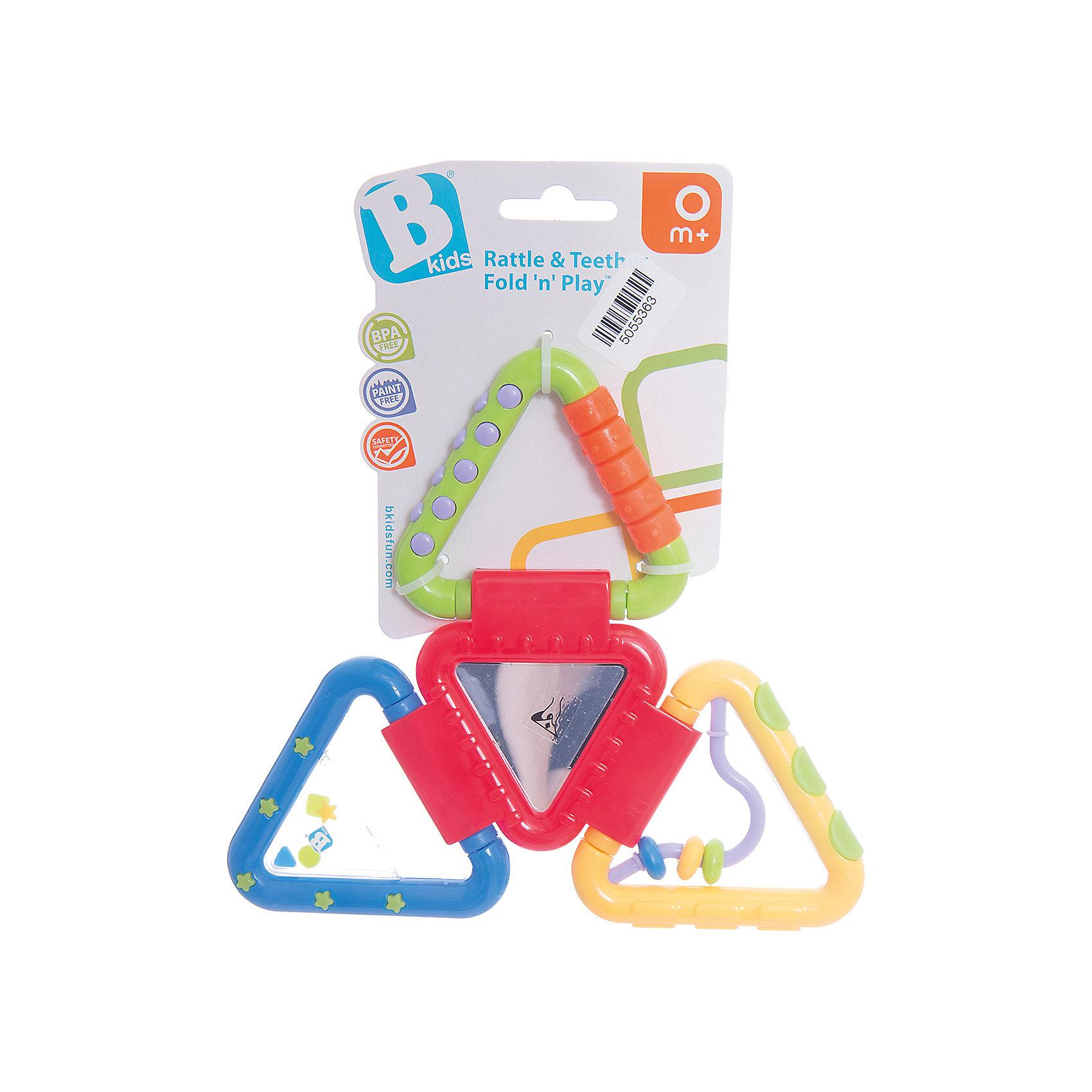 Игрушка Веселые треугольнички, BKidsРазвивающие игрушки<br>Развивать способности ребенка можно с самого раннего возраста. Делая это в игре, малыш всесторонне изучает мир и осваивает новые навыки. Эта игрушка состоит из треугольничков, складывающихся в фигуру. Она имеет специальные поверхности для режущихся зубов, лабиринт, гремящую часть и зеркало.<br>Такие игрушки способствуют развитию мелкой моторики, воображения, цвето- и звуковосприятия, тактильных ощущений. Изделие разработано специально для самых маленьких. Сделано из материалов, безопасных для детей.<br><br>Дополнительная информация:<br><br>цвет: разноцветный;<br>комплектация: развертка из 4 треугольников;<br>возраст: с рождения.<br><br>Игрушку Веселые треугольнички от бренда BKids можно купить в нашем интернет-магазине.<br><br>Ширина мм: 101<br>Глубина мм: 101<br>Высота мм: 20<br>Вес г: 95<br>Возраст от месяцев: 0<br>Возраст до месяцев: 36<br>Пол: Унисекс<br>Возраст: Детский<br>SKU: 5055363