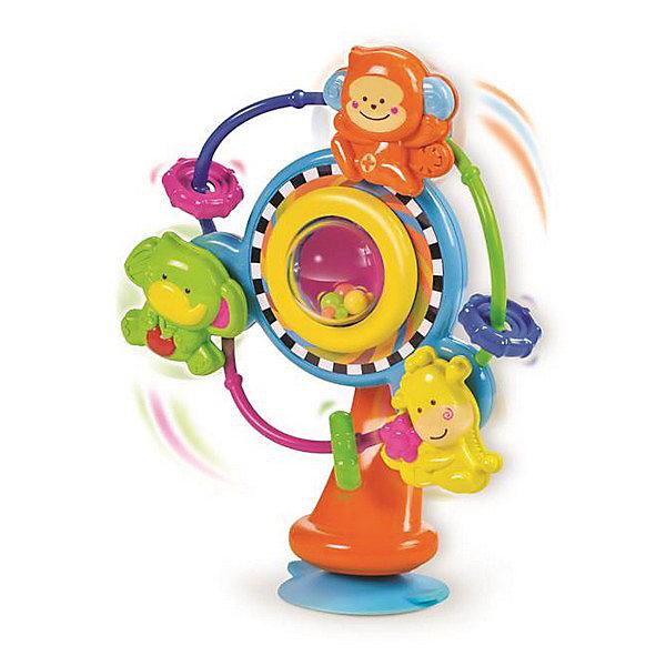 Игрушка на присоске Карусель, BKidsИгрушки для новорожденных<br>Характеристики:<br><br>• карусель с подвижными элементами;<br>• вращающийся барабан с цветными шариками внутри;<br>• три пассажира: слоник, обезьянка и жираф;<br>• цветные бусины и шестеренки на основании дуги;<br>• развитие наблюдательности и фокусировки зрения;<br>• материал: пластик;<br>• размер упаковки: 18х10х23 см. <br><br>Развивающая игрушка на присоске устанавливается на любой гладкой поверхности: на столе, на стульчике для кормления или на тумбочке. Барабан раскручивается и озорные «пассажиры» отправляются в головокружительное путешествие. Малыш наблюдает за игрушками, развивается его зрительное восприятие, пространственное восприятие и происходит фокусировка взгляда на подвижном элементе. <br> <br>Игрушка на присоске Карусель, BKids можно купить в нашем интернет-магазине.<br>Ширина мм: 100; Глубина мм: 100; Высота мм: 228; Вес г: 288; Возраст от месяцев: 6; Возраст до месяцев: 36; Пол: Унисекс; Возраст: Детский; SKU: 5055371;